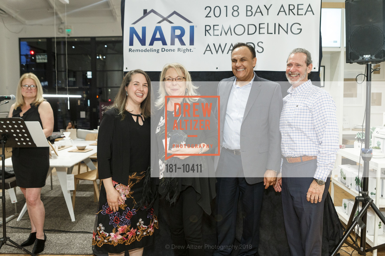 Alisa Hofmann, Toni Boren, Sultan Nabkel, Gary LaMusga, NARI Bay Area Remodeling Awards, EQ3. 2299 Alameda St, April 11th, 2018