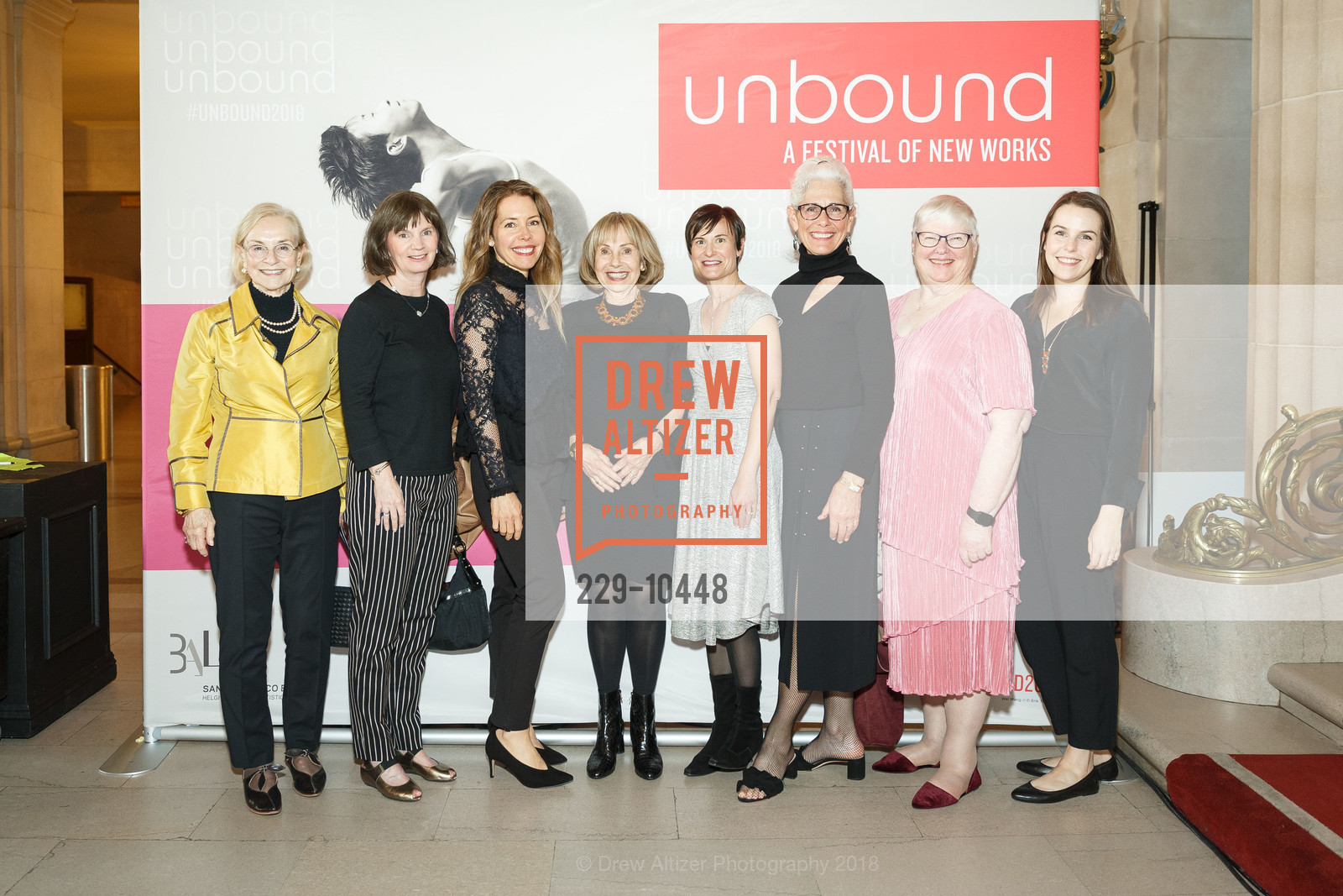 Judy Timken, Seeley Roebuck, Joan Roebuck, Lisa Barnes, Shelly Carroll, Katie Morris, SF Ballet's Stage Dinner 2018 - Unbound: A Festival of New Works, War Memorial Opera House. 301 Van Ness, April 16th, 2018