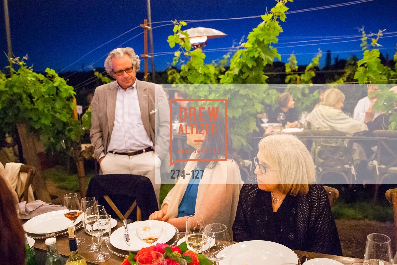 Peter Allen, Luanne Calvert, An Evening in the Vineyard hosted by JACK CALHOUN & TRENT NORRIS, Jack Calhoun & Trent Norris Vineyard. 3393 Dry Creek Road, Healdsburg CA 95448, May 22nd, 2015,Drew Altizer, Drew Altizer Photography, full-service agency, private events, San Francisco photographer, photographer california