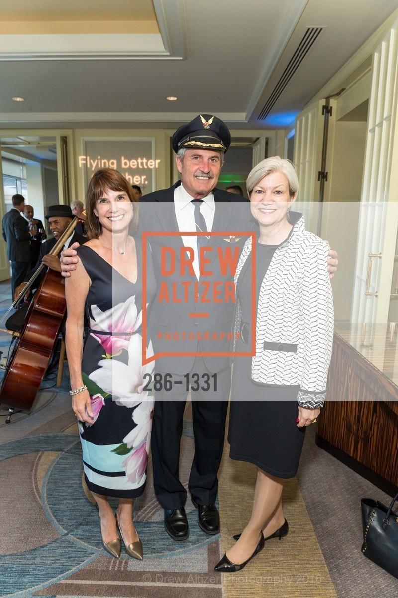 Andy Schneider, Tom Kemp, Patty Bedient, Alaska Airlines Community Reception, Four Season Hotel. 757 Market Street, August 2nd, 2016