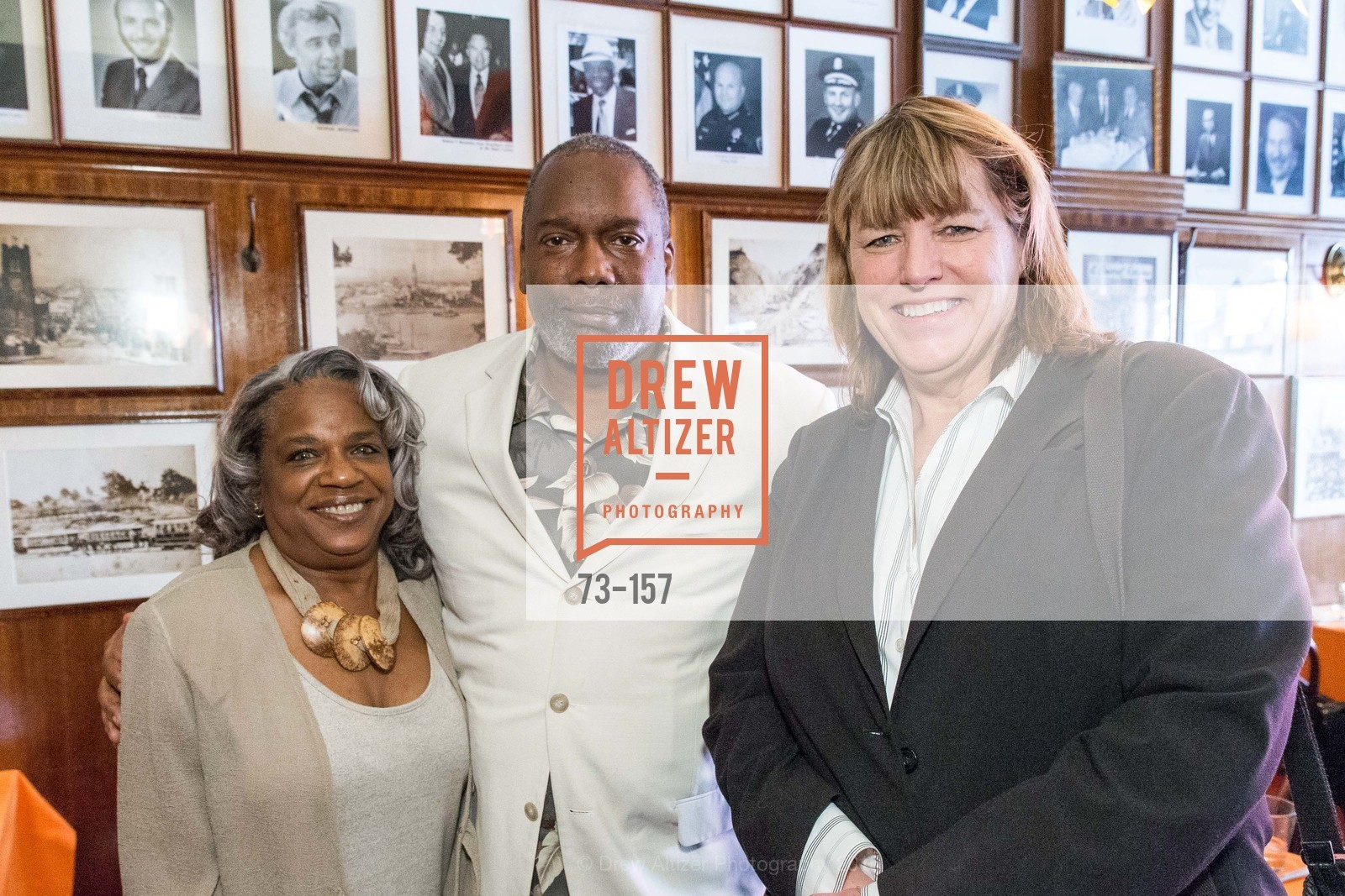 Cheryl Williams, Jerome Williams, Dicki Hennessy, 3-Ring Lunch Celebration honoring Renel Brooks-Moon, John's Grill. 63 Ellis Street, June 7th, 2015,Drew Altizer, Drew Altizer Photography, full-service agency, private events, San Francisco photographer, photographer california