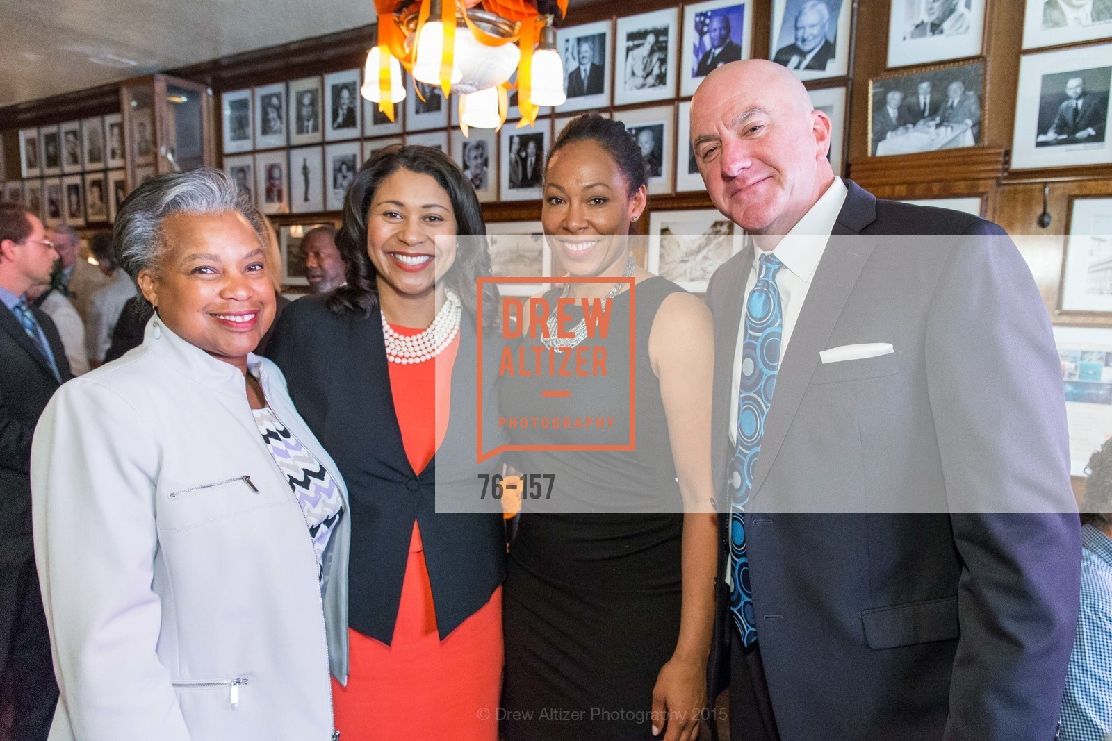 Francee Covington, London Breed, Adrianne Sims, Tom O'Connor, 3-Ring Lunch Celebration honoring Renel Brooks-Moon, John's Grill. 63 Ellis Street, June 7th, 2015,Drew Altizer, Drew Altizer Photography, full-service agency, private events, San Francisco photographer, photographer california