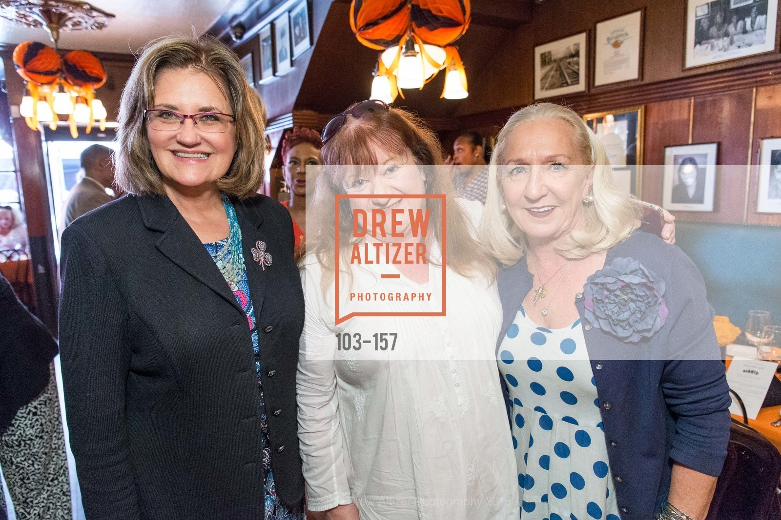 Teresa Ruter, Baseball Mary, Trish Herman, 3-Ring Lunch Celebration honoring Renel Brooks-Moon, John's Grill. 63 Ellis Street, June 7th, 2015,Drew Altizer, Drew Altizer Photography, full-service agency, private events, San Francisco photographer, photographer california