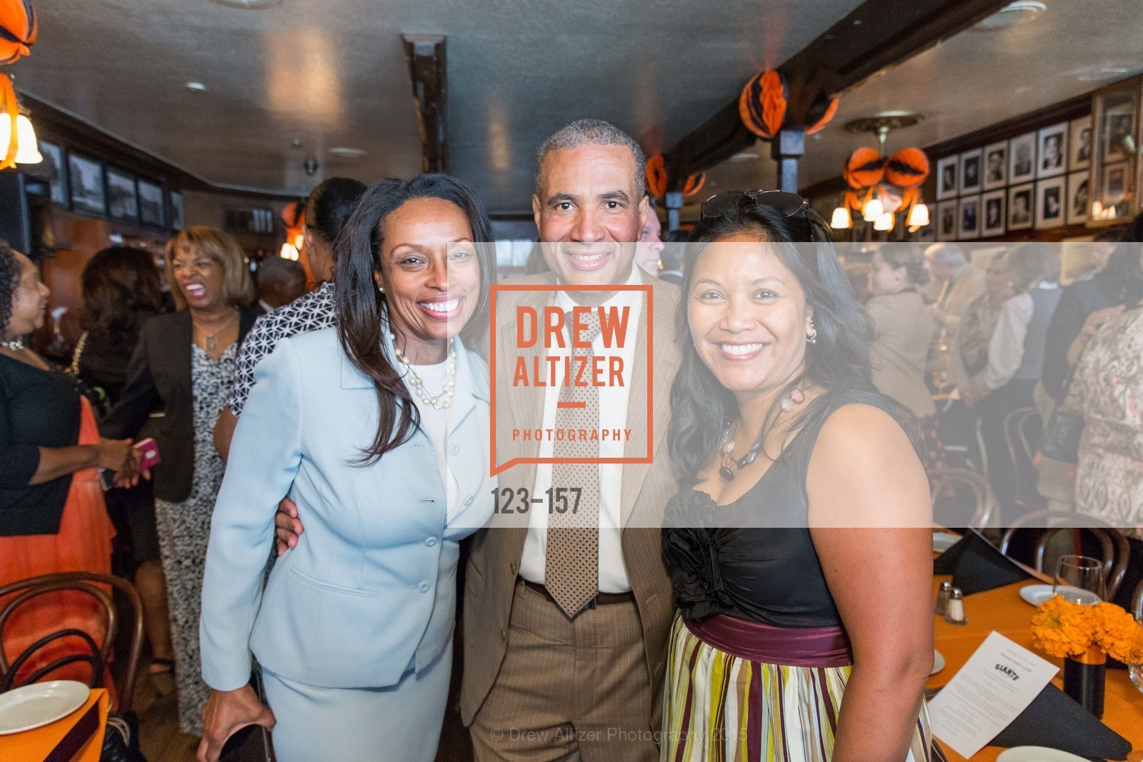 Karen Roye, Harlen Kelly, Hydra Mendoza, 3-Ring Lunch Celebration honoring Renel Brooks-Moon, John's Grill. 63 Ellis Street, June 7th, 2015,Drew Altizer, Drew Altizer Photography, full-service agency, private events, San Francisco photographer, photographer california