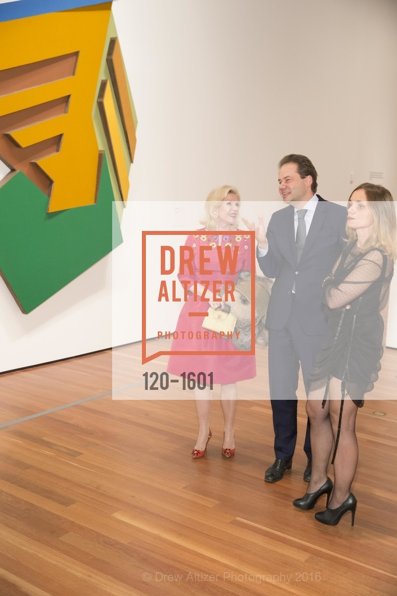 Dede Wilsey, Max Hollein, Nina Hollein, Dinner with Frank Stella at the de Young, de Young Museum. 2525 Van Ness St, November 16th, 2016