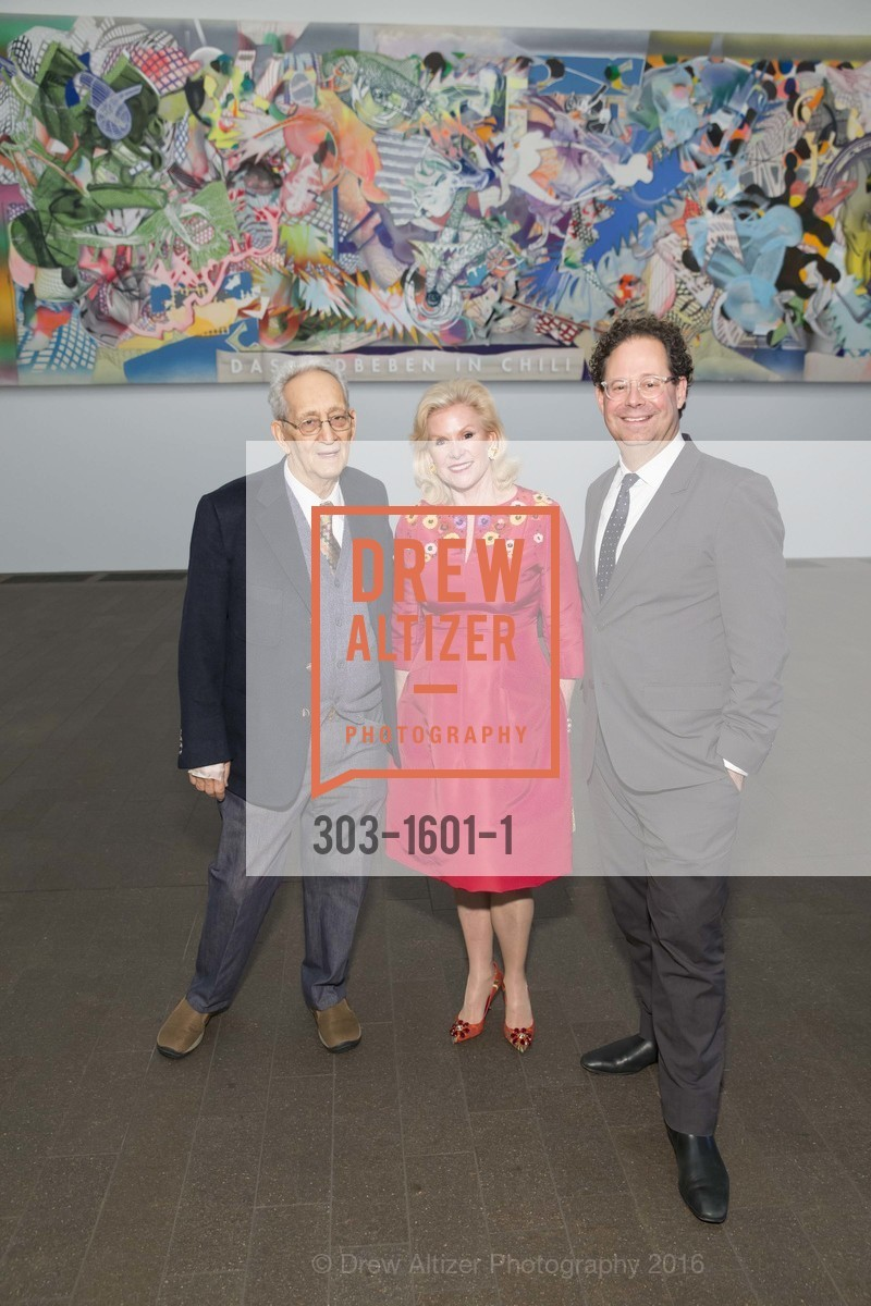 Frank Stella, Dede Wilsey, Adam Weinberg, Dinner with Frank Stella at the de Young, de Young Museum. 2525 Van Ness St, November 16th, 2016