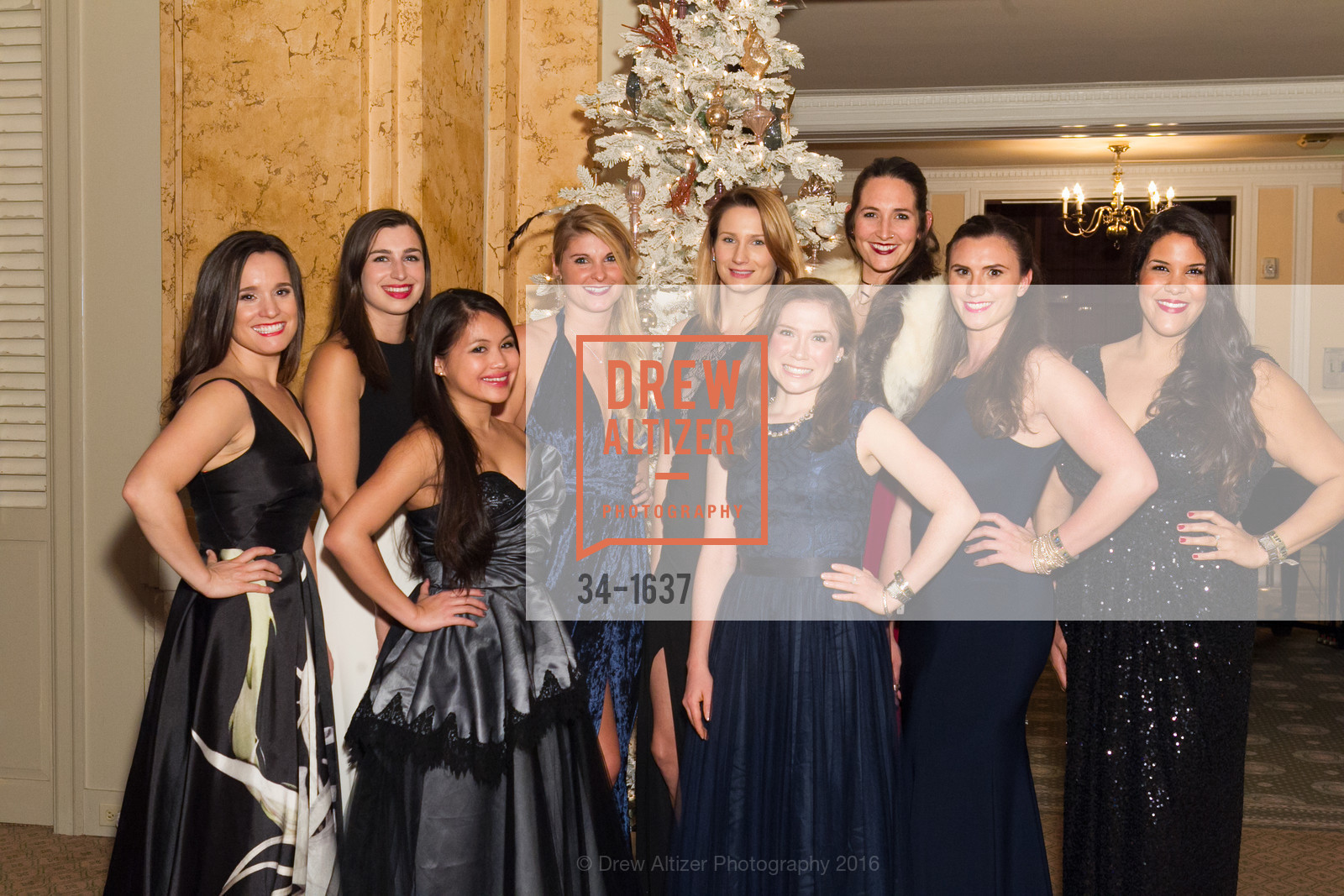 Libby Orrick, Julia Thompson, Melissa Floirendo, Lauren Gehring, Mara Giarratana Young, Danielle Schraner, Jaclyn Butler, Spinsters Holiday event, Metropolitan Club. 640 Sutter St, San Francisco, CA 94102, December 10th, 2016