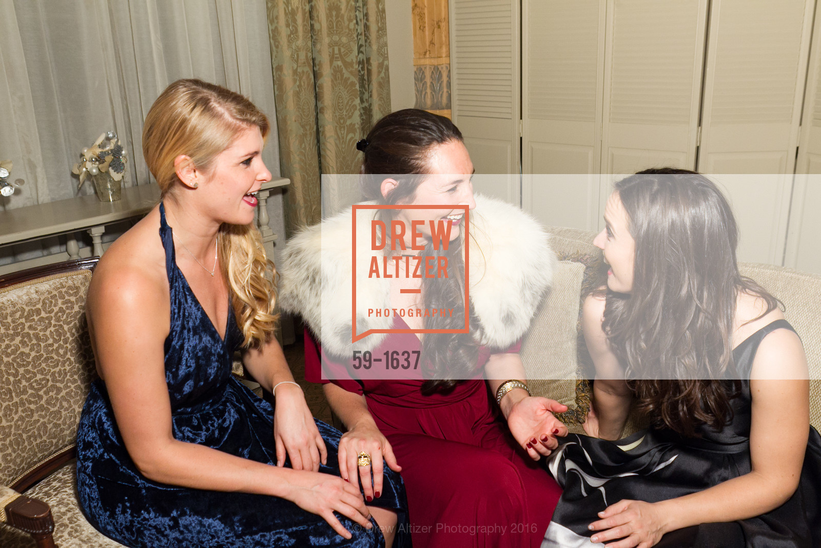 Lauren Gehring, Lindsey Denman, Libby Orrick, Spinsters Holiday event, Metropolitan Club. 640 Sutter St, San Francisco, CA 94102, December 10th, 2016