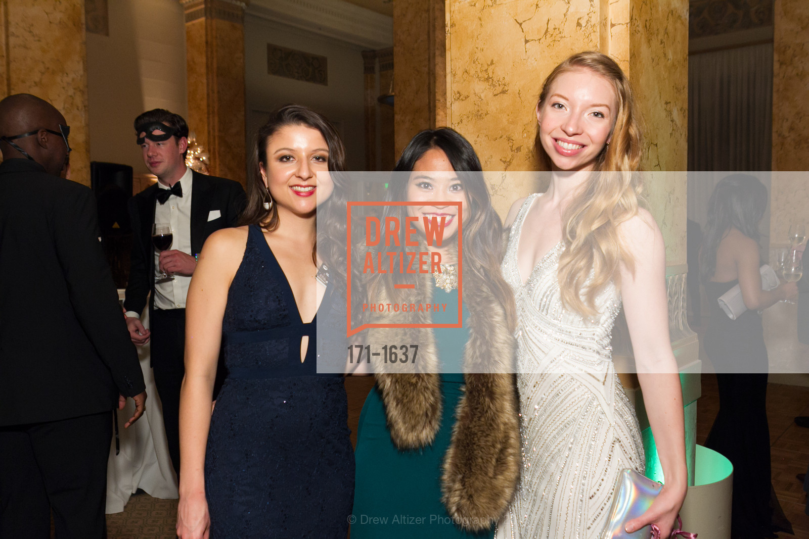 Marissa Corona, Rachel Tsao, Claire Callahan, Spinsters Holiday event, Metropolitan Club. 640 Sutter St, San Francisco, CA 94102, December 10th, 2016
