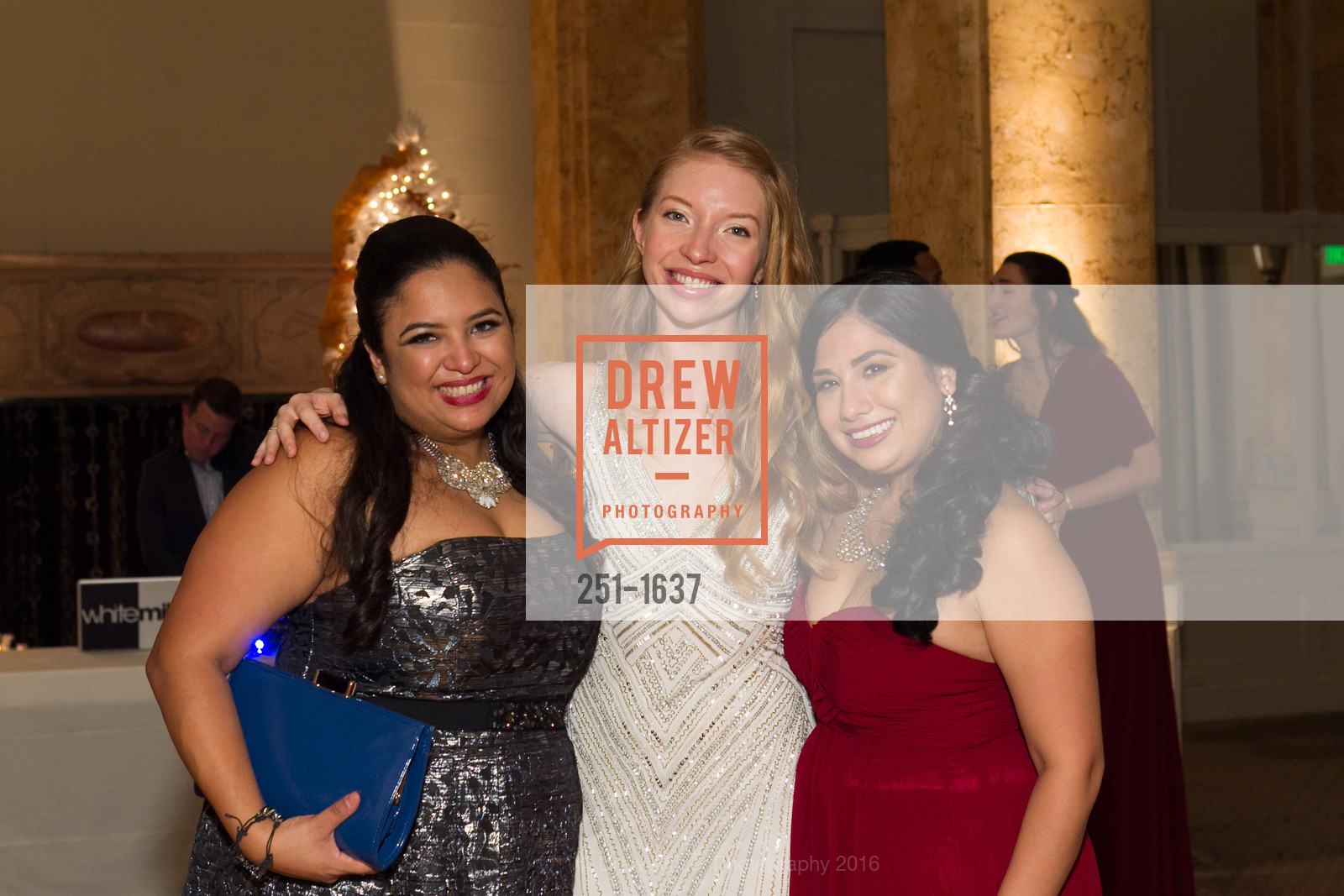 Deyanira Medina, Claire Callahan, Natalie Bueo, Spinsters Holiday event, Metropolitan Club. 640 Sutter St, San Francisco, CA 94102, December 10th, 2016