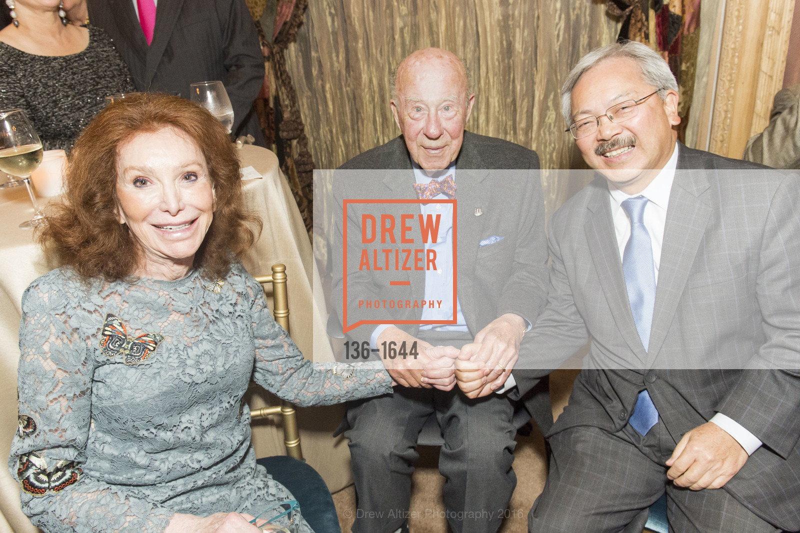 Ann Getty, George Shultz, Ed Lee, Ann and Gordon Getty Host the San Francisco Mayor's Office of Protocol Christmas Party, Private Residence. 2525 Van Ness St, December 8th, 2016