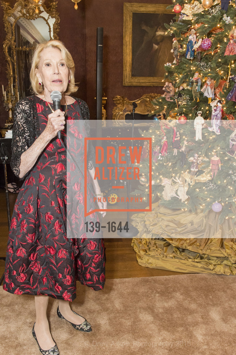 Charlotte Shultz, Ann and Gordon Getty Host the San Francisco Mayor's Office of Protocol Christmas Party, Private Residence. 2525 Van Ness St, December 8th, 2016