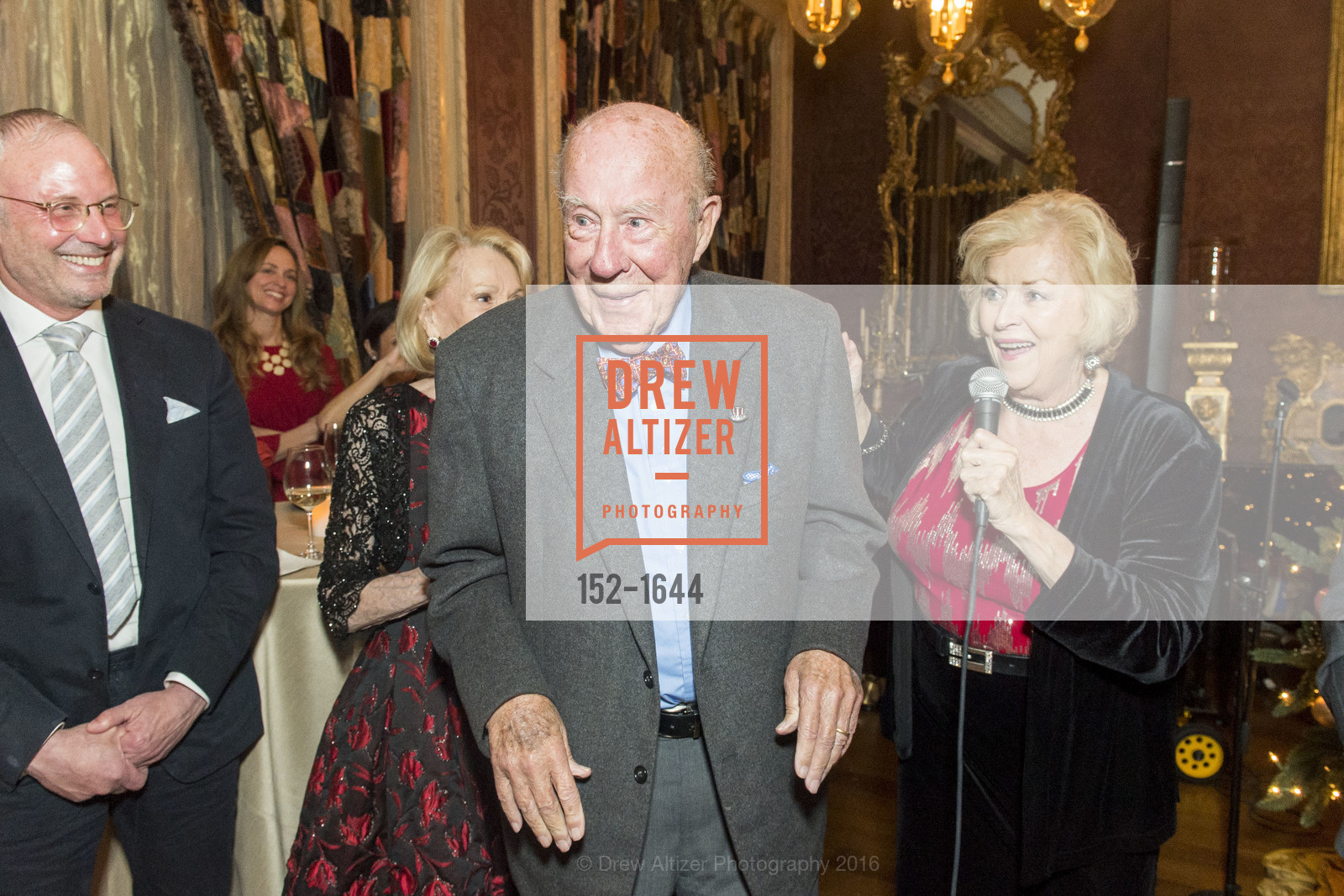 Charlotte Shultz, George Shultz, Ed Lee, Ann and Gordon Getty Host the San Francisco Mayor's Office of Protocol Christmas Party, Private Residence. 2525 Van Ness St, December 8th, 2016