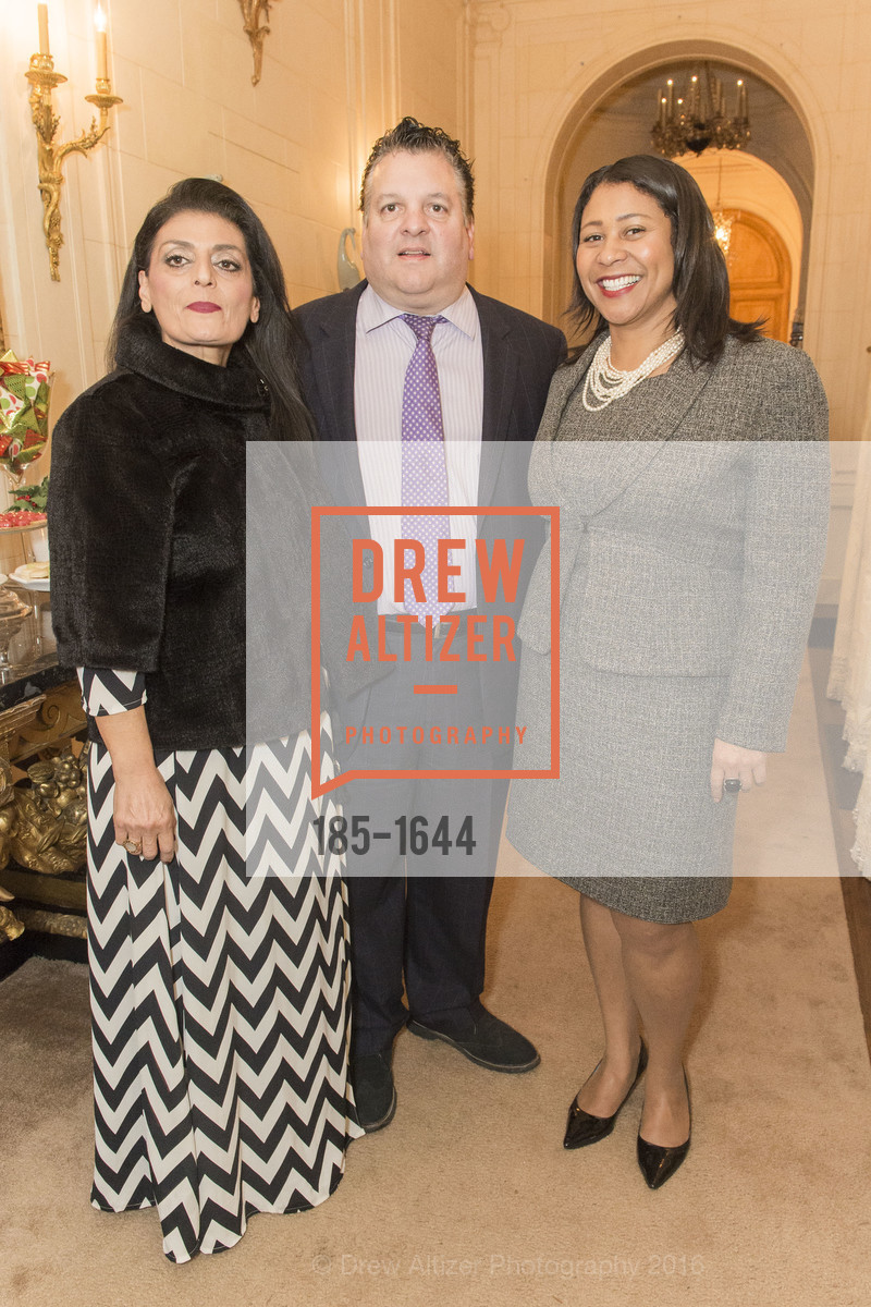 Athena Konstin, John Konstin, London Breed, Ann and Gordon Getty Host the San Francisco Mayor's Office of Protocol Christmas Party, Private Residence. 2525 Van Ness St, December 8th, 2016