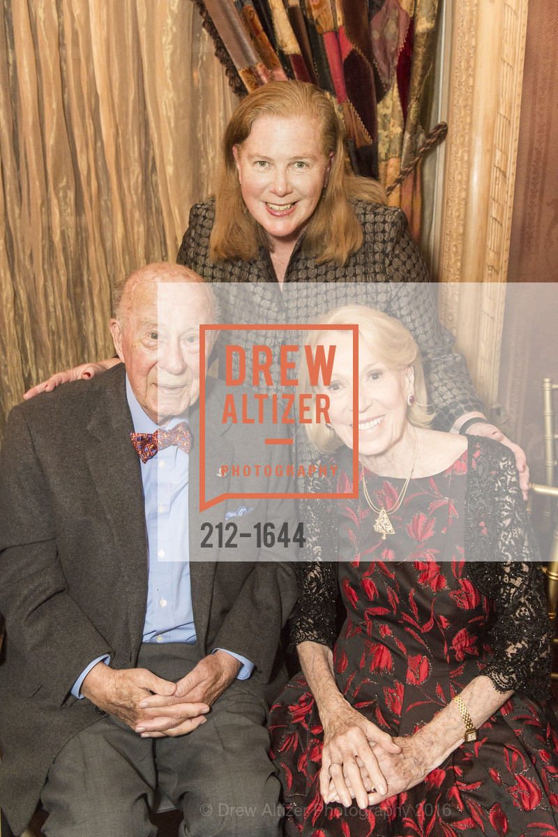 George Shultz, Joanne Hayes-White, Charlotte Shultz, Ann and Gordon Getty Host the San Francisco Mayor's Office of Protocol Christmas Party, Private Residence. 2525 Van Ness St, December 8th, 2016
