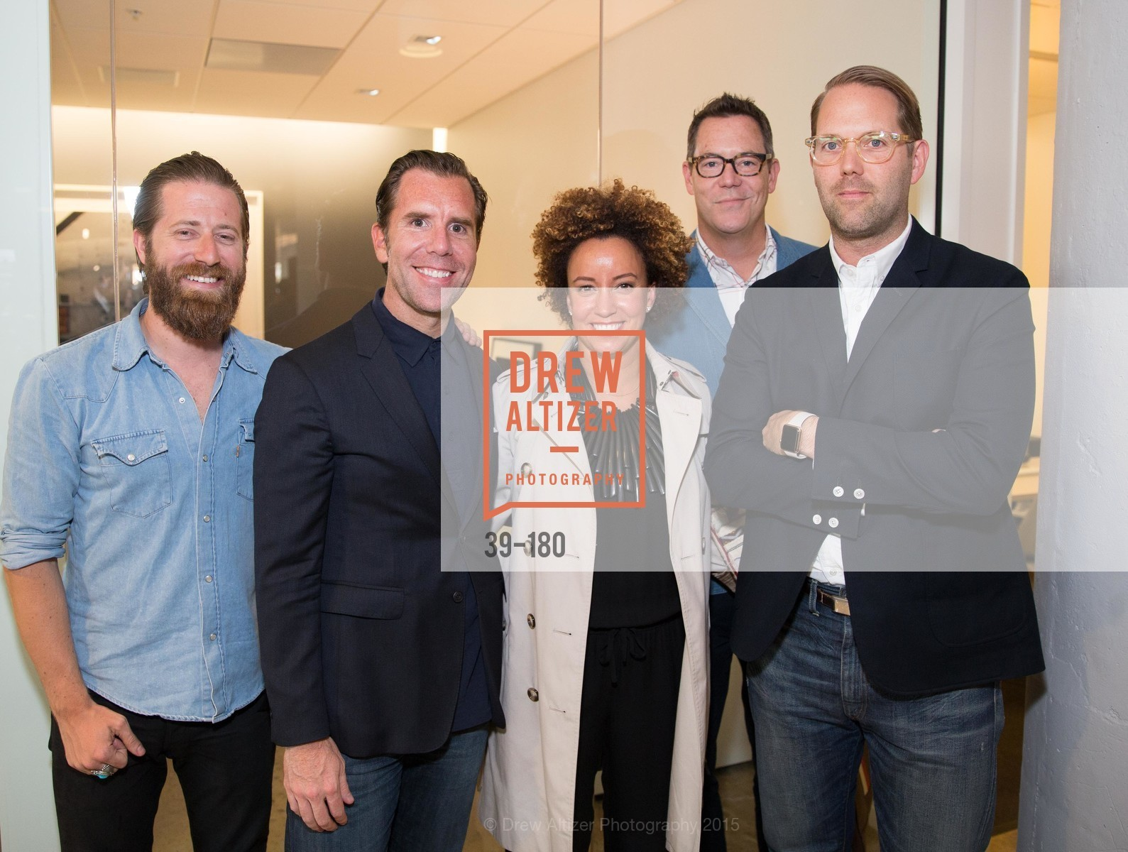 Bill Sorrentino, Scott Dadich, Lauren Godfrey, Patrick Godfrey, Alan Dayo, Wired Magazine July Cover Release Celebration at New Wired Office, Wired Magazine Offices. 520 3rd Street, June 24th, 2015