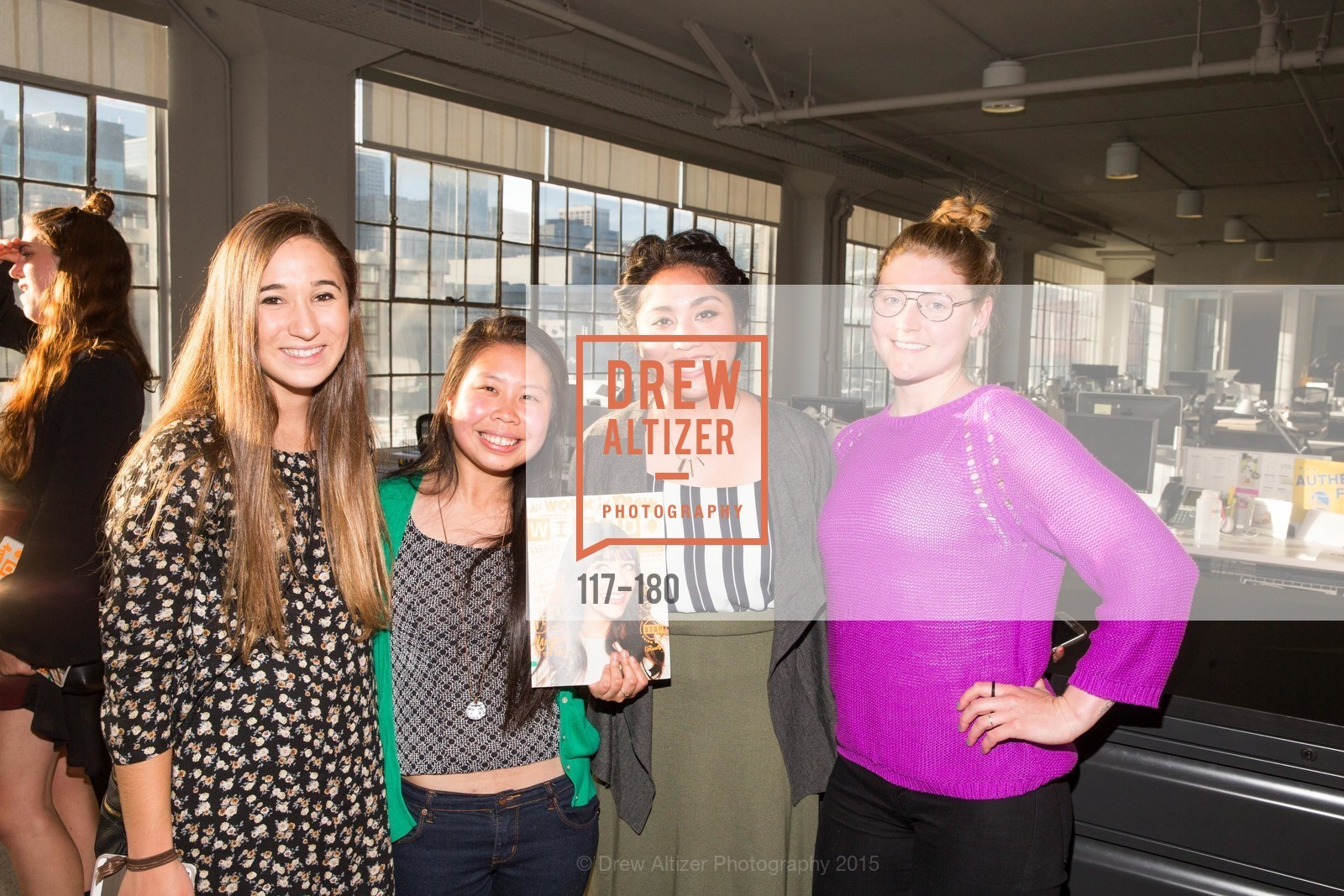 Emily Owayni, Kimberly Chen, Jamie Lam, Rebecca Hill, Wired Magazine July Cover Release Celebration at New Wired Office, Wired Magazine Offices. 520 3rd Street, June 24th, 2015,Drew Altizer, Drew Altizer Photography, full-service event agency, private events, San Francisco photographer, photographer California