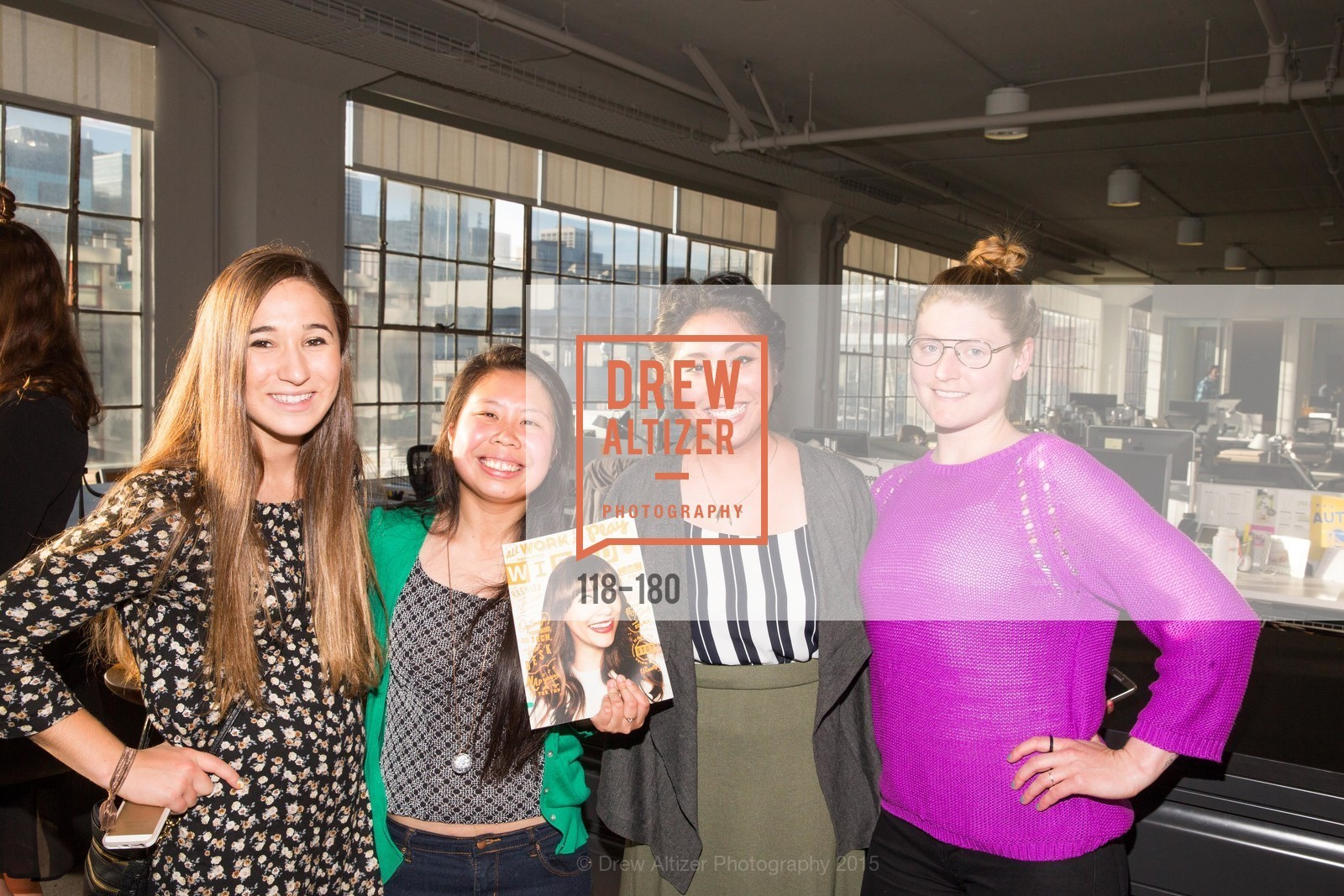 Emily Owayni, Kimberly Chen, Jamie Lam, Rebecca Hill, Wired Magazine July Cover Release Celebration at New Wired Office, Wired Magazine Offices. 520 3rd Street, June 24th, 2015,Drew Altizer, Drew Altizer Photography, full-service agency, private events, San Francisco photographer, photographer california