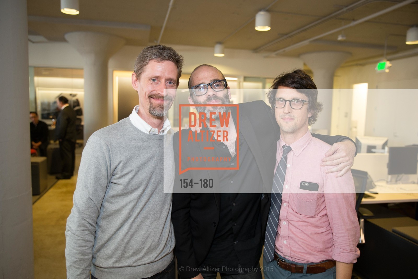 Mark McClusky, Patrick Witty, Neil Harris, Wired Magazine July Cover Release Celebration at New Wired Office, Wired Magazine Offices. 520 3rd Street, June 24th, 2015,Drew Altizer, Drew Altizer Photography, full-service event agency, private events, San Francisco photographer, photographer California