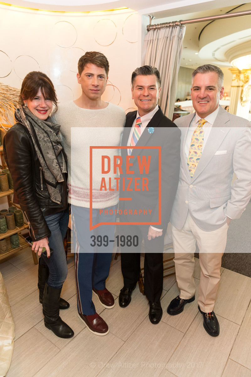 Elaine Mellis, Aubrey Brewster, Chris Meza, Tim Graffigna, Aubrey Brewster's Purely Paradise Birthday Luncheon 2017, Neiman Marcus. 150 Stockton St  SF, California 94108, March 24th, 2017