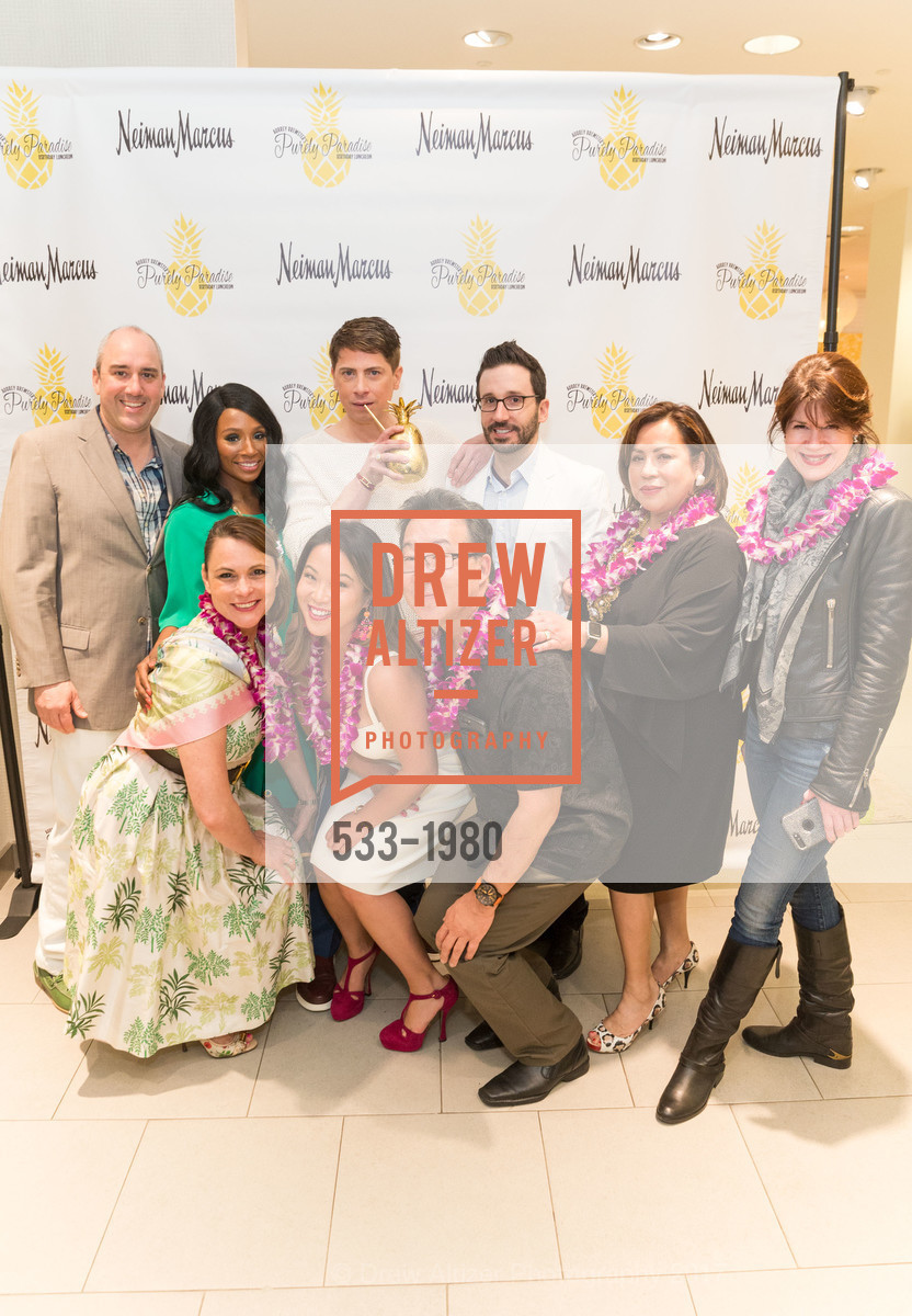 Gil Padia, Teresa Rodriguez, Pernella Sommerville, Jojo Ginn, Aubrey Brewster, Gerold Osato, Kyle McMillen, Mitzi Manzano, Elaine Mellis, Aubrey Brewster's Purely Paradise Birthday Luncheon 2017, Neiman Marcus. 150 Stockton St  SF, California 94108, March 24th, 2017