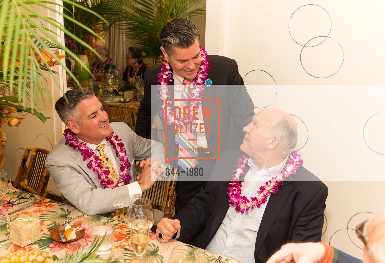 Tim Graffigna, Chris Meza, Bill Hales, Aubrey Brewster's Purely Paradise Birthday Luncheon 2017, Neiman Marcus. 150 Stockton St  SF, California 94108, March 24th, 2017