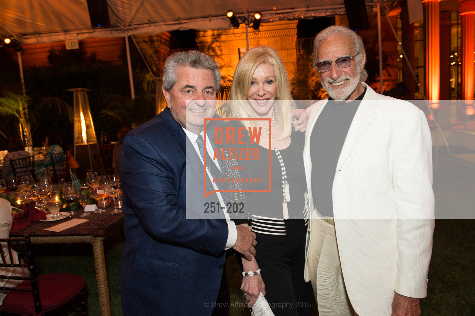 Carmen Policy, Pamala Deikel, Ted Deikel, Festival del Sole Patron Dinner at Darioush Winery, Darioush Winery. 4240 Silverado Trail, July 24th, 2015,Drew Altizer, Drew Altizer Photography, full-service agency, private events, San Francisco photographer, photographer california