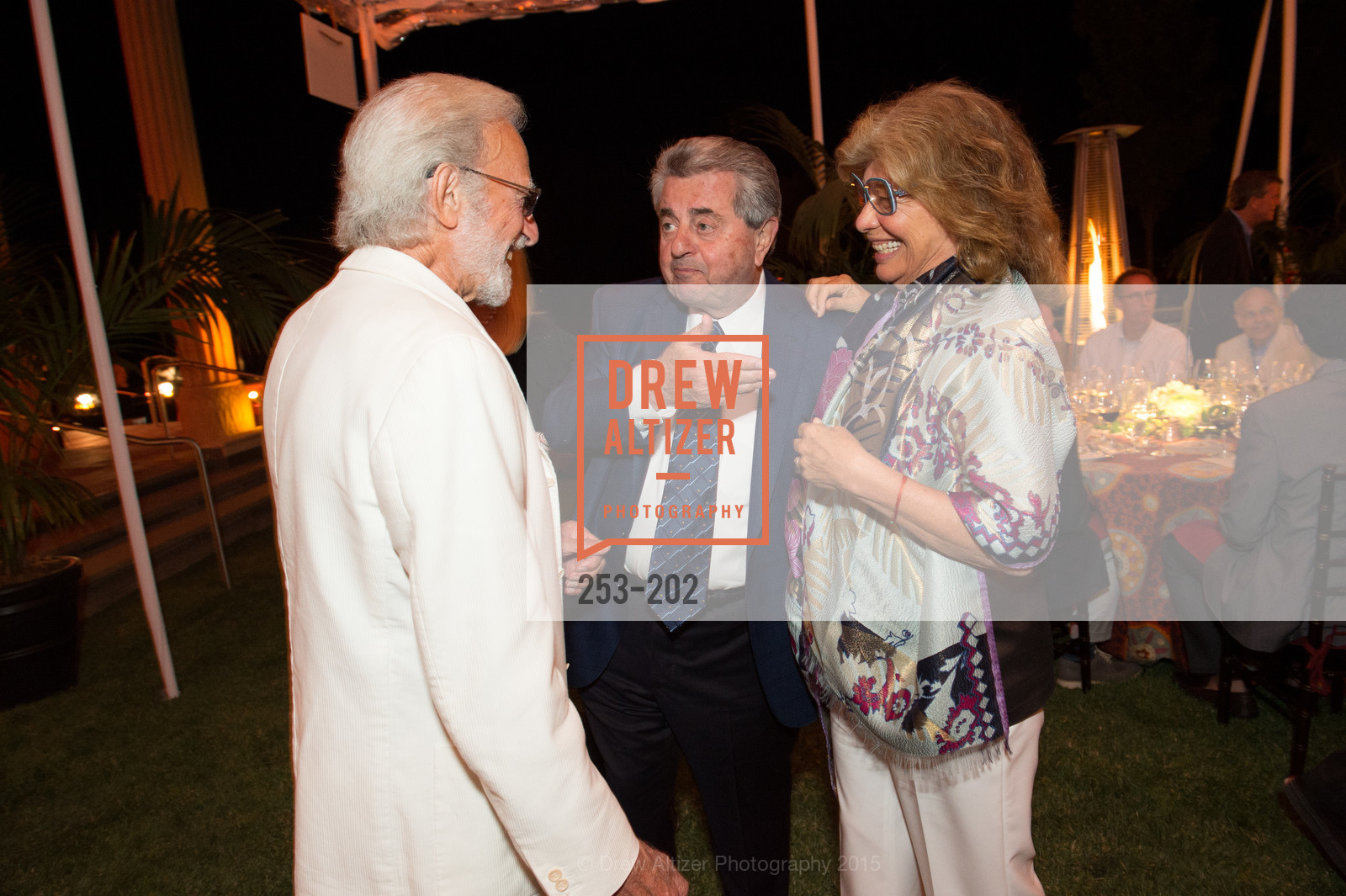 Ted Deikel, Carmen Policy, Valeria Huneeus, Festival del Sole Patron Dinner at Darioush Winery, Darioush Winery. 4240 Silverado Trail, July 24th, 2015,Drew Altizer, Drew Altizer Photography, full-service agency, private events, San Francisco photographer, photographer california