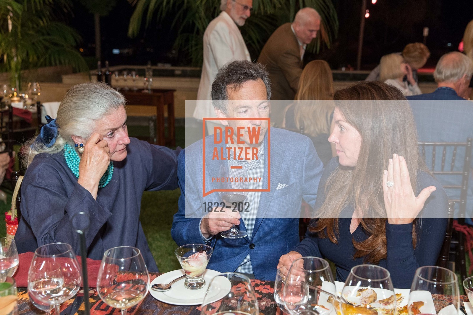 Elizabeth Swanson, Rick Walker, Michelle Baggett, Festival del Sole Patron Dinner at Darioush Winery, Darioush Winery. 4240 Silverado Trail, July 24th, 2015,Drew Altizer, Drew Altizer Photography, full-service agency, private events, San Francisco photographer, photographer california
