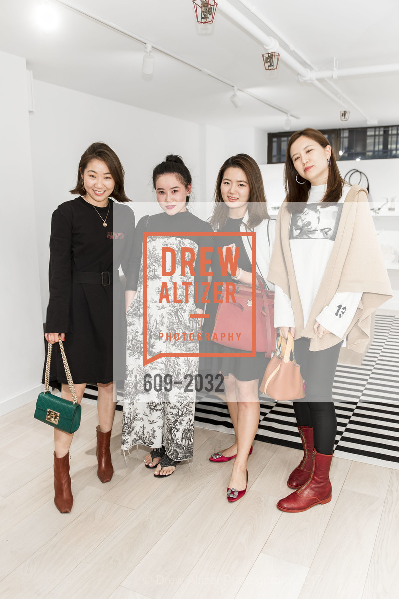 Vivian Zhang, Lucy Ma, Samantha Hong, Elena Shenju, Nellie Partow F17 Trunkshow at PIA (The Store), PIA. 414 Jackson St.  San Francisco, California, April 19th, 2017