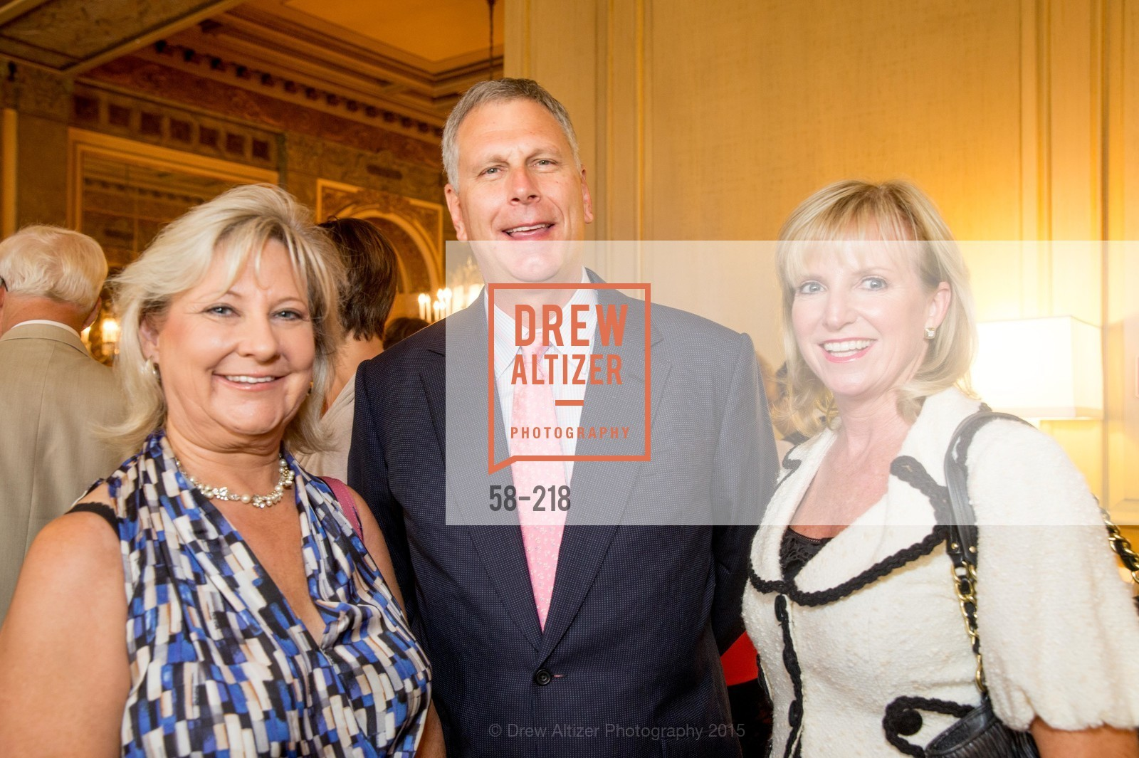 Davena Witcher, Ernst Bauer, Tricia Holt, Salvation Army Flower Power Luncheon, Sir Francis Drake Hotel. 450 Powell St, August 4th, 2015,Drew Altizer, Drew Altizer Photography, full-service agency, private events, San Francisco photographer, photographer california