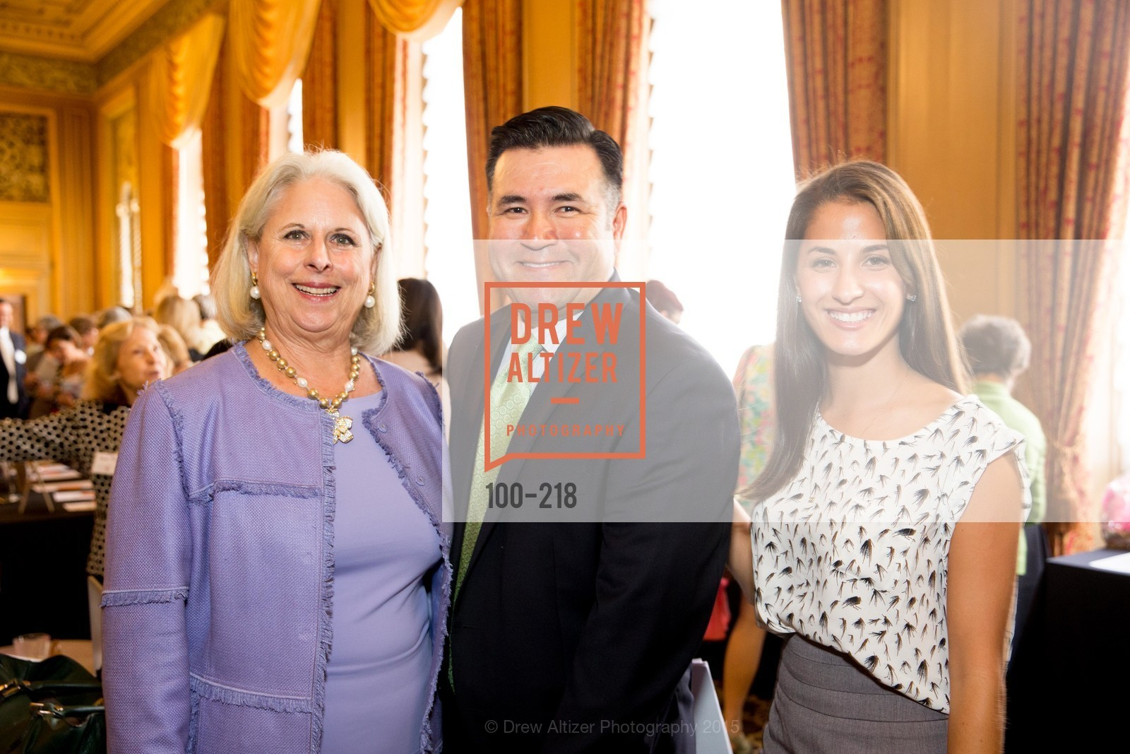 Fifi Holbrook, Enrique Obando, Rachel Gaddy, Salvation Army Flower Power Luncheon, Sir Francis Drake Hotel. 450 Powell St, August 4th, 2015,Drew Altizer, Drew Altizer Photography, full-service agency, private events, San Francisco photographer, photographer california