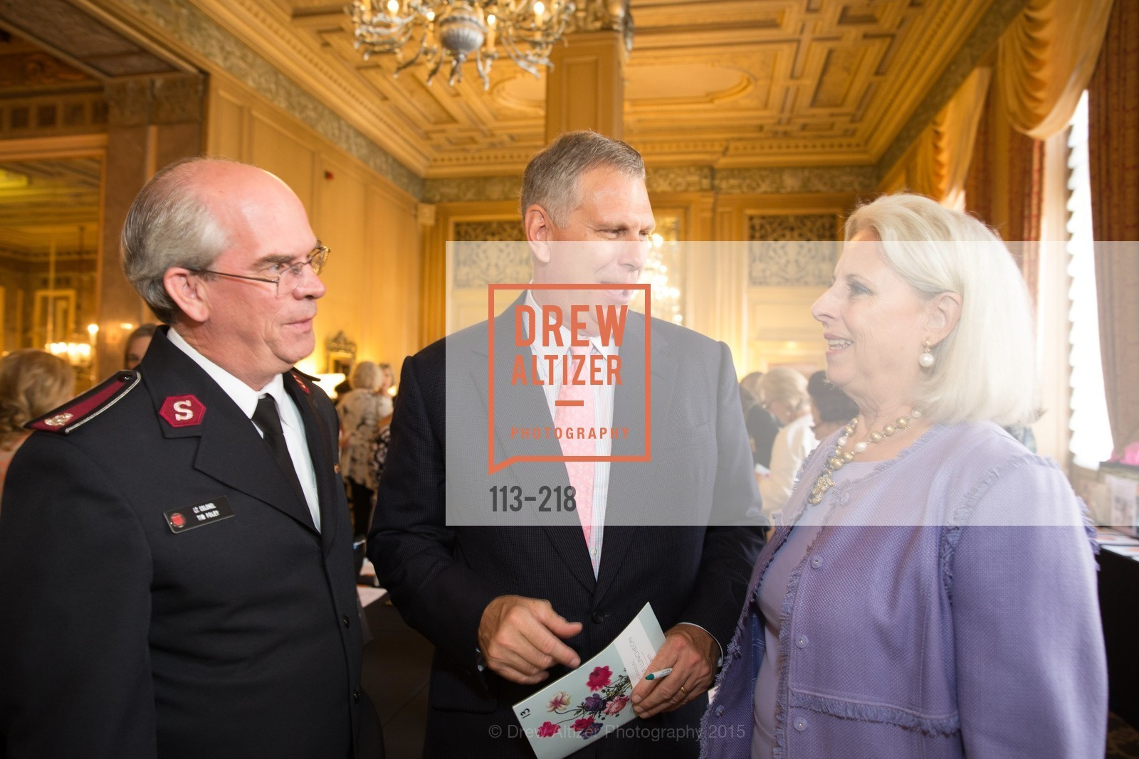 Tim Foley, Ernst Bauer, Fifi Holbrook, Salvation Army Flower Power Luncheon, Sir Francis Drake Hotel. 450 Powell St, August 4th, 2015,Drew Altizer, Drew Altizer Photography, full-service agency, private events, San Francisco photographer, photographer california