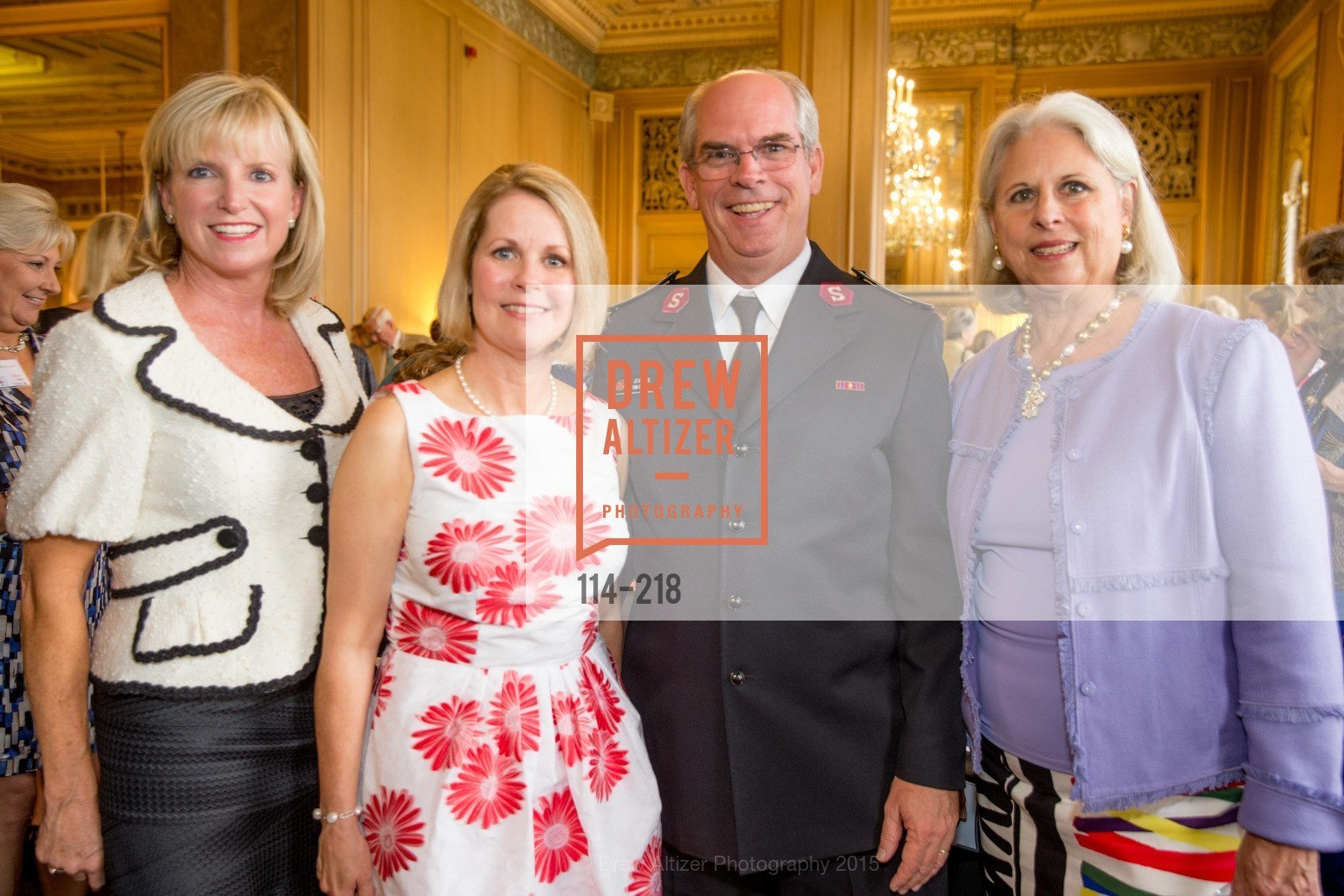 Tricia Holt, Leslie Bauer, Tim Foley, Fifi Holbrook, Salvation Army Flower Power Luncheon, Sir Francis Drake Hotel. 450 Powell St, August 4th, 2015,Drew Altizer, Drew Altizer Photography, full-service agency, private events, San Francisco photographer, photographer california