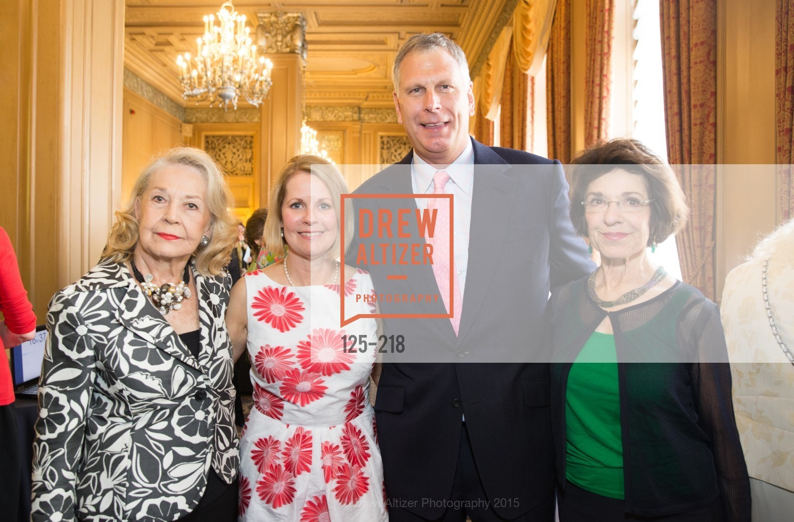 Irene Bechtel, Leslie Bauer, Ernst Bauer, Nyla Moore, Salvation Army Flower Power Luncheon, Sir Francis Drake Hotel. 450 Powell St, August 4th, 2015,Drew Altizer, Drew Altizer Photography, full-service agency, private events, San Francisco photographer, photographer california