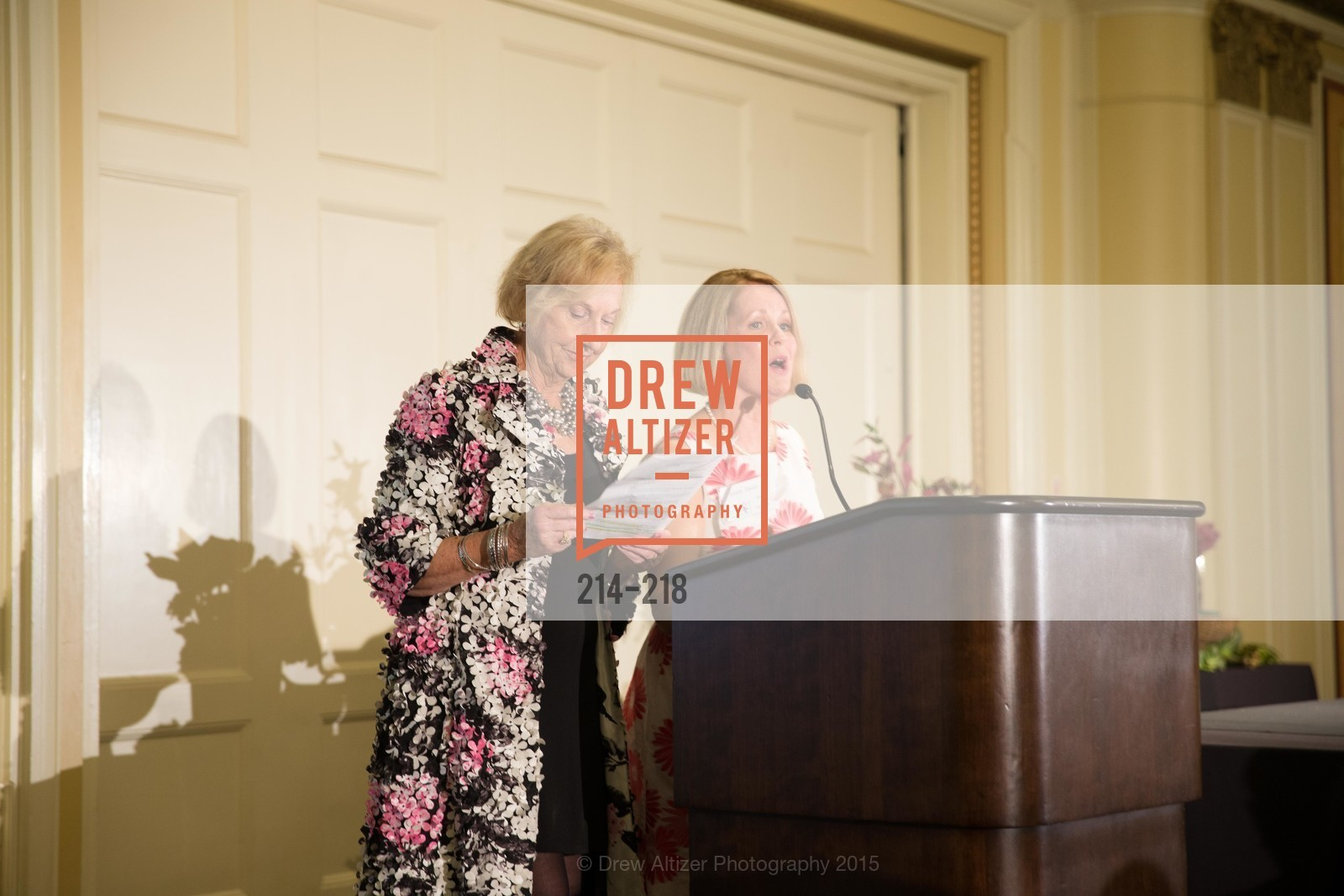 Judith Heuser, Leslie Bauer, Salvation Army Flower Power Luncheon, Sir Francis Drake Hotel. 450 Powell St, August 4th, 2015