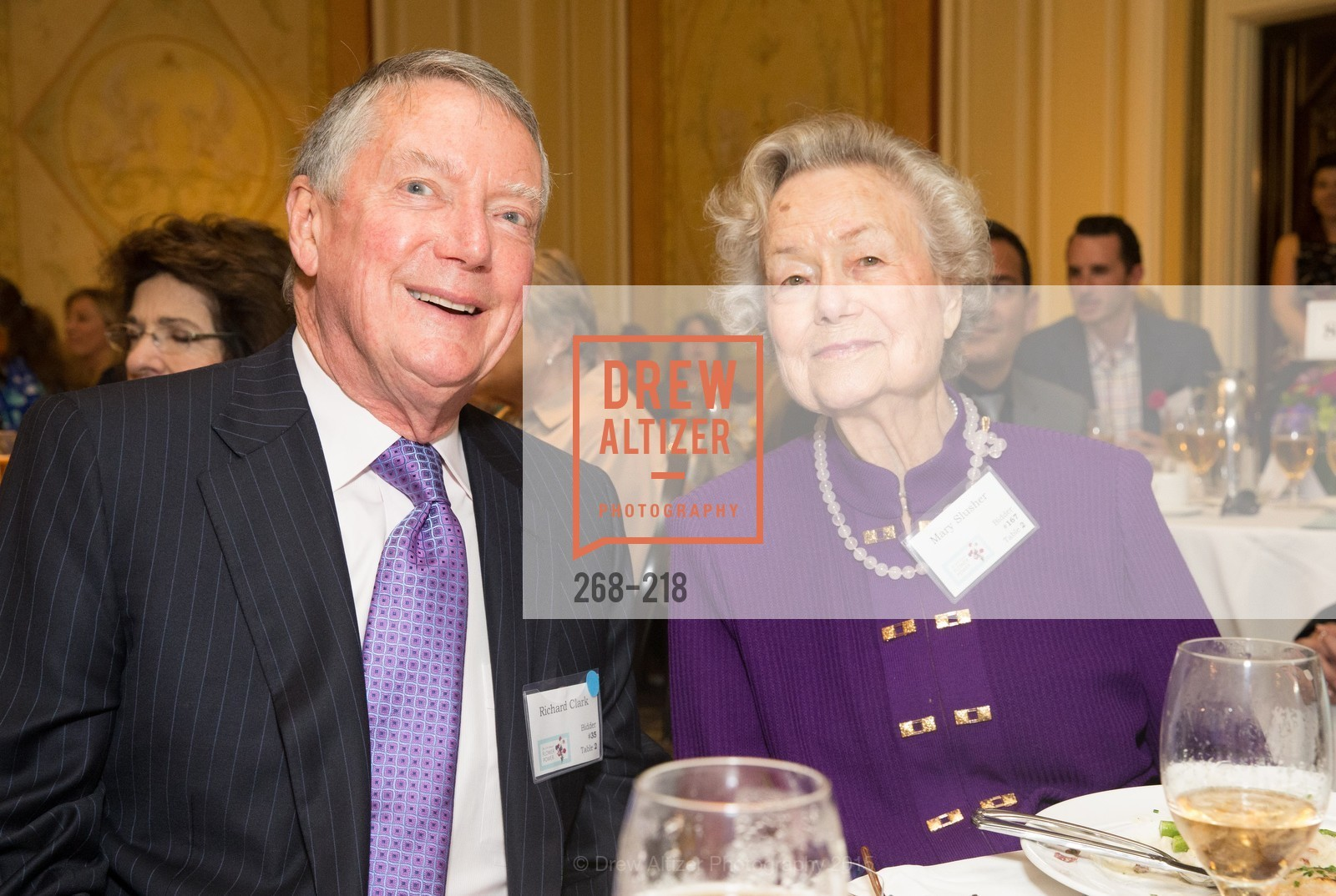 Richard Clark, Mary Slusher, Salvation Army Flower Power Luncheon, Sir Francis Drake Hotel. 450 Powell St, August 4th, 2015,Drew Altizer, Drew Altizer Photography, full-service agency, private events, San Francisco photographer, photographer california