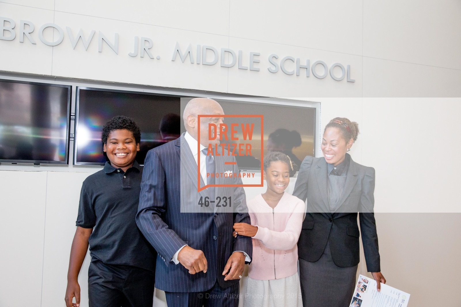 Lordes Brown, Willie Brown, Matea Brown, Isabelle Brown, Willie L. Brown Middle School Ribbon Cutting Ceremony, Willie L. Brown Middle School. 2055 Silver Avenue, August 13th, 2015,Drew Altizer, Drew Altizer Photography, full-service agency, private events, San Francisco photographer, photographer california