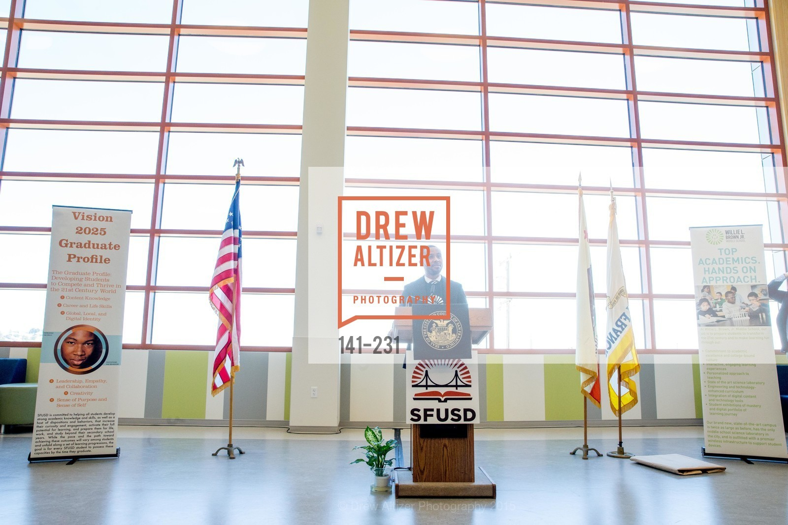 Demetrius Hobson, Willie L. Brown Middle School Ribbon Cutting Ceremony, Willie L. Brown Middle School. 2055 Silver Avenue, August 13th, 2015,Drew Altizer, Drew Altizer Photography, full-service agency, private events, San Francisco photographer, photographer california