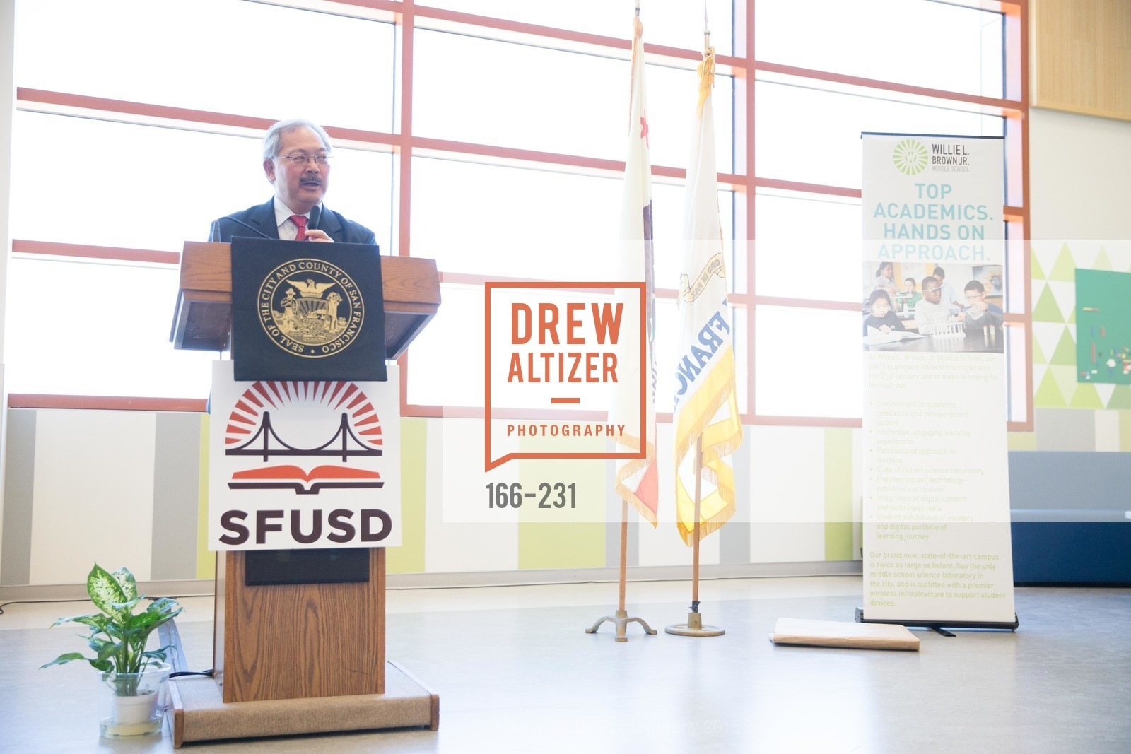 Ed Lee, Willie L. Brown Middle School Ribbon Cutting Ceremony, Willie L. Brown Middle School. 2055 Silver Avenue, August 13th, 2015,Drew Altizer, Drew Altizer Photography, full-service agency, private events, San Francisco photographer, photographer california