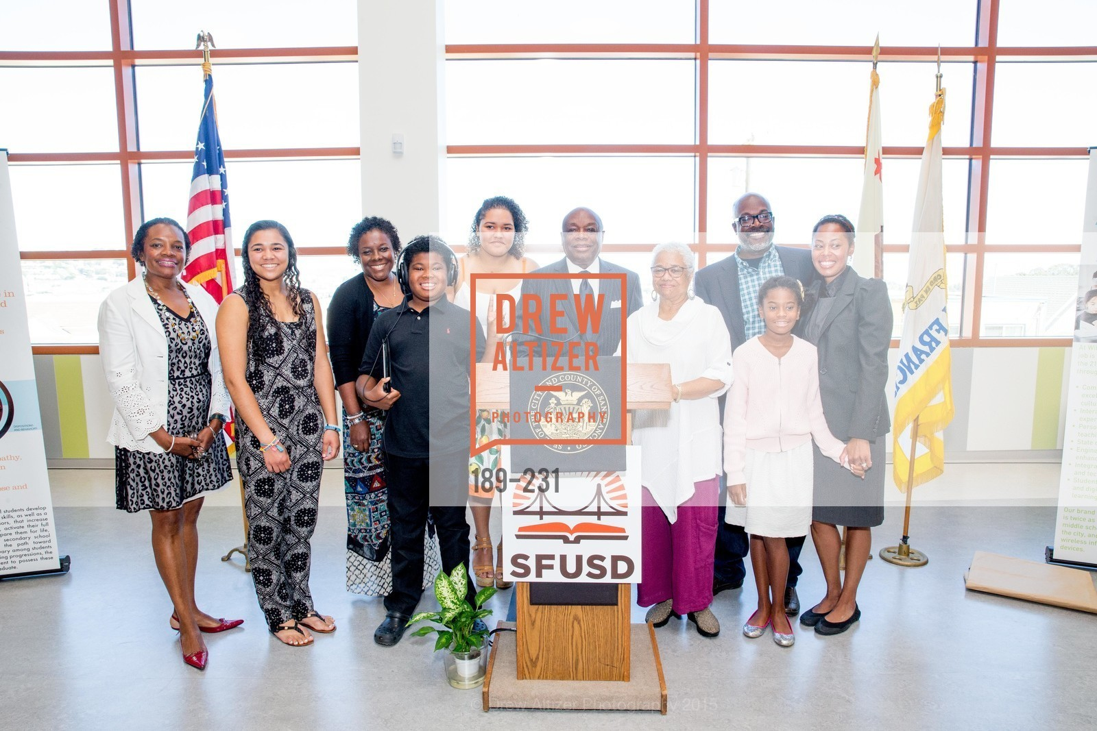 Susan Brown, Lordes Brown, Willie Brown, Blanche Brown, Michael Brown, Matea Brown, Isabelle Brown, Willie L. Brown Middle School Ribbon Cutting Ceremony, Willie L. Brown Middle School. 2055 Silver Avenue, August 13th, 2015,Drew Altizer, Drew Altizer Photography, full-service event agency, private events, San Francisco photographer, photographer California