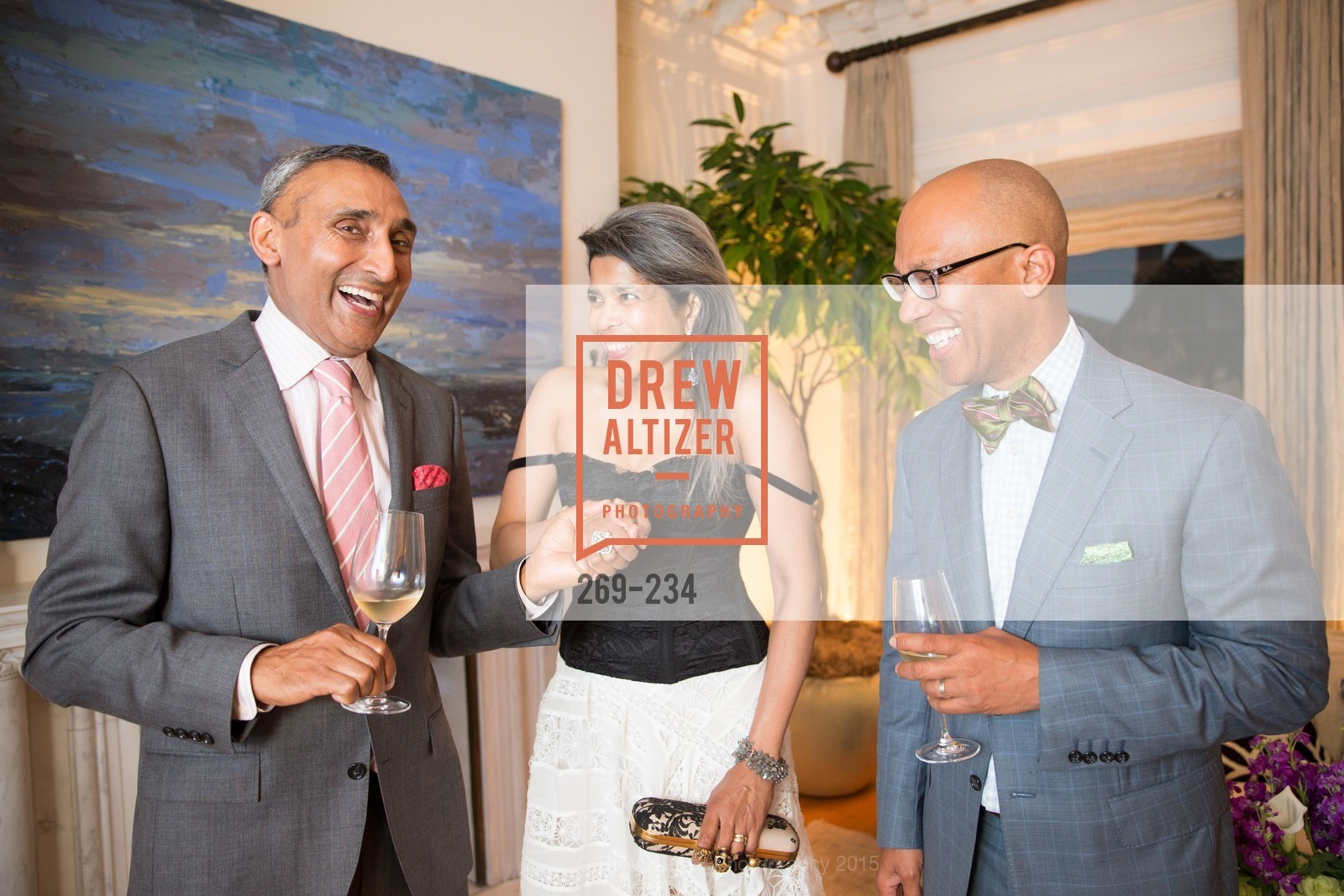 Inder Dhillon, Deepa Pakianathan, Ken McNeely, San Francisco Opera Ball 2015 Patron Party, Private Residence, August 19th, 2015