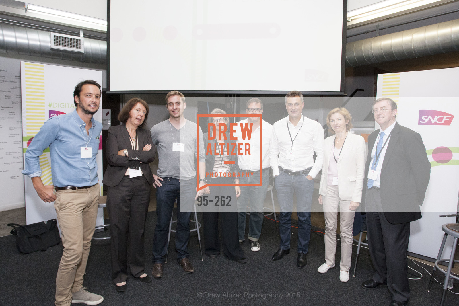 Florent Peyre, Barbara Dalibard, Baptiste Manson, Benedicte Tilloy, Gregory Renard, Yves Tyrode, Florence Parly, Pierre Izard, Inauguration of SNCF Innovation Lab, 169 11th St, August 26th, 2015,Drew Altizer, Drew Altizer Photography, full-service agency, private events, San Francisco photographer, photographer california
