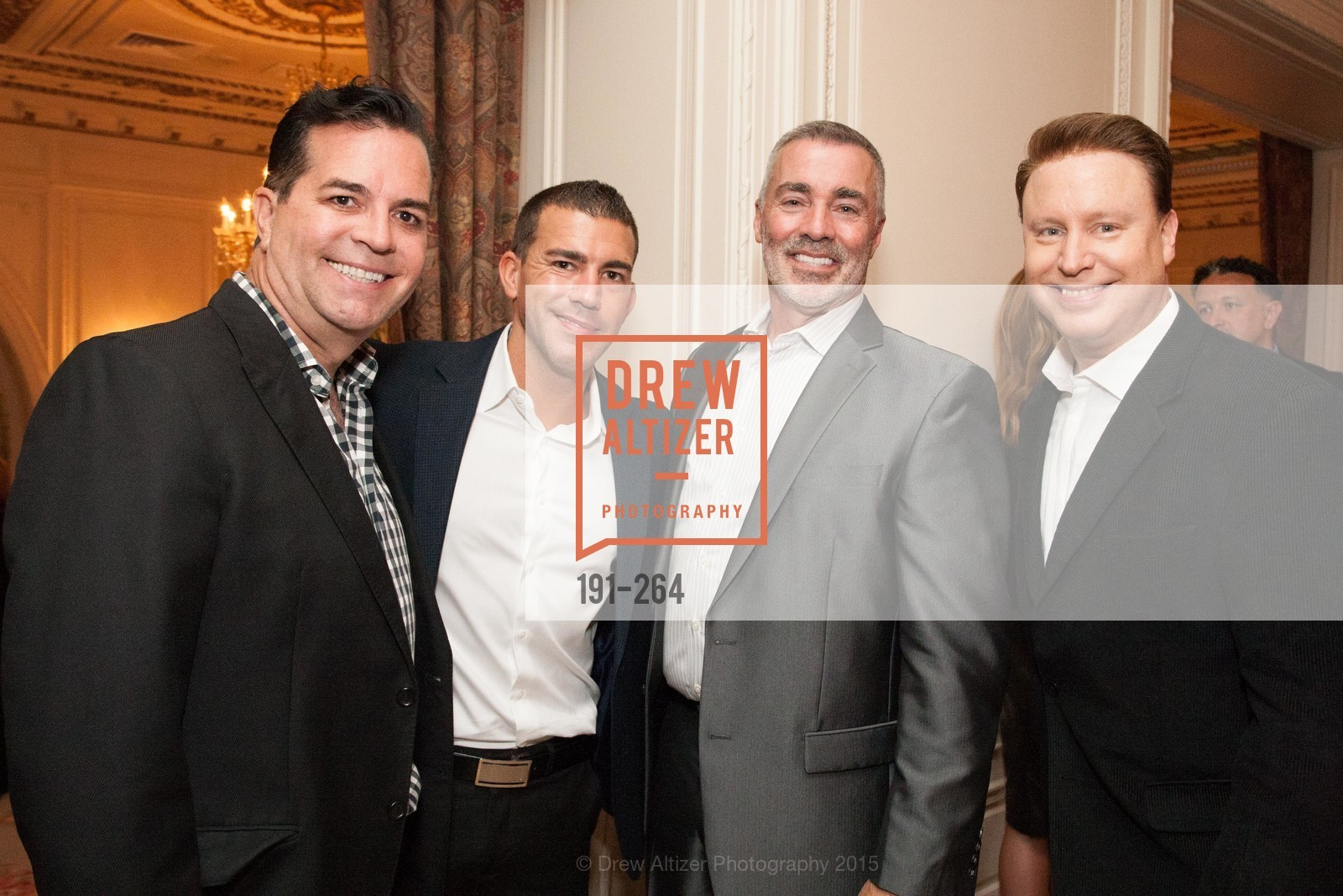 Michael Montoya, Paul Maluchnik, Lenny Broberg, Doug Waggener, Shanti's Compassion is Universal 41st Anniversary Preview Reception, Palace Hotel. 2 Montgomery Street, August 25th, 2015,Drew Altizer, Drew Altizer Photography, full-service agency, private events, San Francisco photographer, photographer california