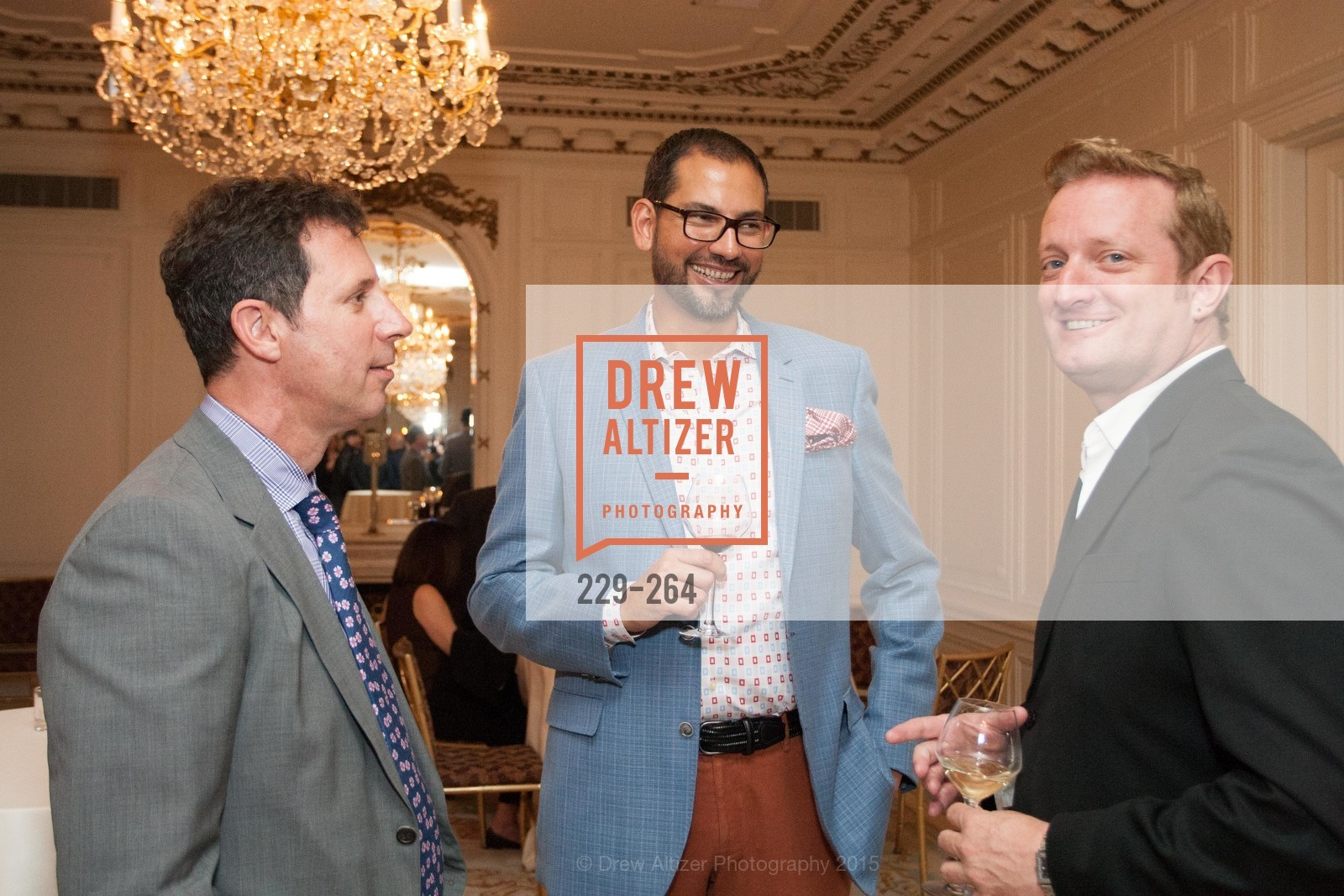 Seth Scullman, Ernesto Quintanilla, TJ Lee, Shanti's Compassion is Universal 41st Anniversary Preview Reception, Palace Hotel. 2 Montgomery Street, August 25th, 2015,Drew Altizer, Drew Altizer Photography, full-service agency, private events, San Francisco photographer, photographer california