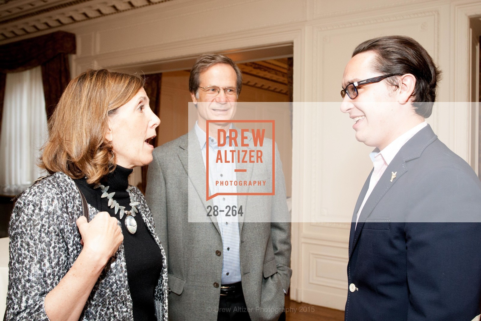 Micki Klearman, Joe Iacocca, Christopher Wiseman, Shanti's Compassion is Universal 41st Anniversary Preview Reception, Palace Hotel. 2 Montgomery Street, August 25th, 2015,Drew Altizer, Drew Altizer Photography, full-service agency, private events, San Francisco photographer, photographer california