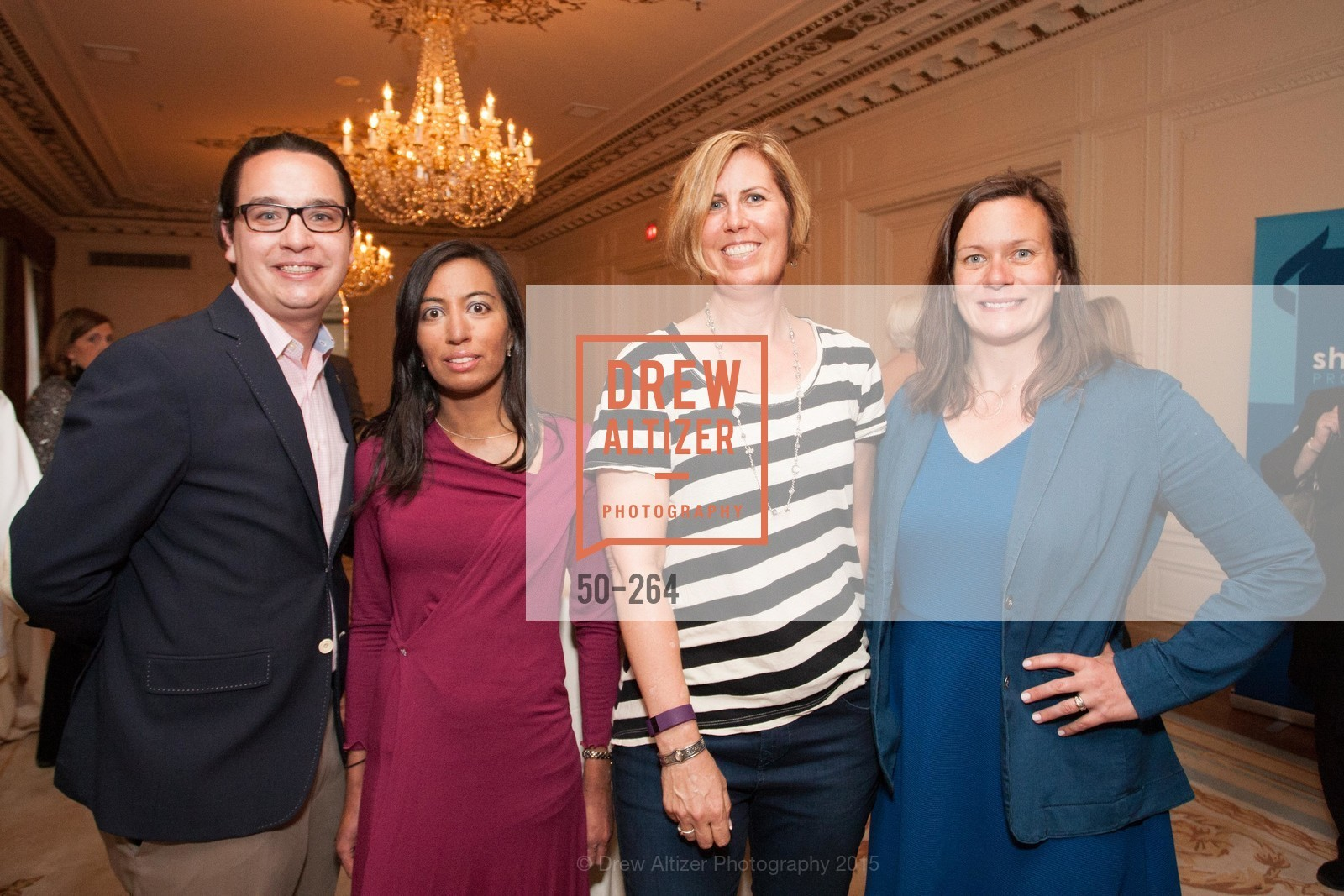 Christopher Wiseman, Nisha Trivedi, Sue Fish, Angie Murphy, Shanti's Compassion is Universal 41st Anniversary Preview Reception, Palace Hotel. 2 Montgomery Street, August 25th, 2015,Drew Altizer, Drew Altizer Photography, full-service agency, private events, San Francisco photographer, photographer california