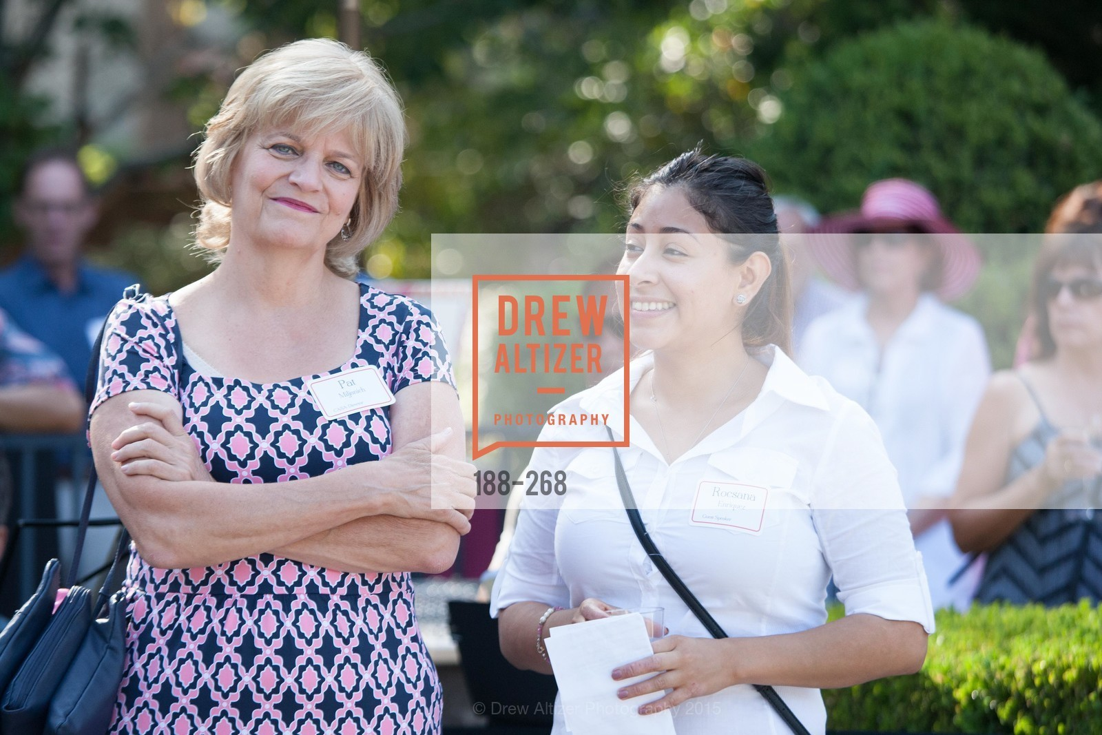 Pat Miljanich, Rocsana Enriquez, CASA of San Mateo County Auxiliary's Annual Garden Party, 2135 Ralston Avenue, August 30th, 2015,Drew Altizer, Drew Altizer Photography, full-service agency, private events, San Francisco photographer, photographer california