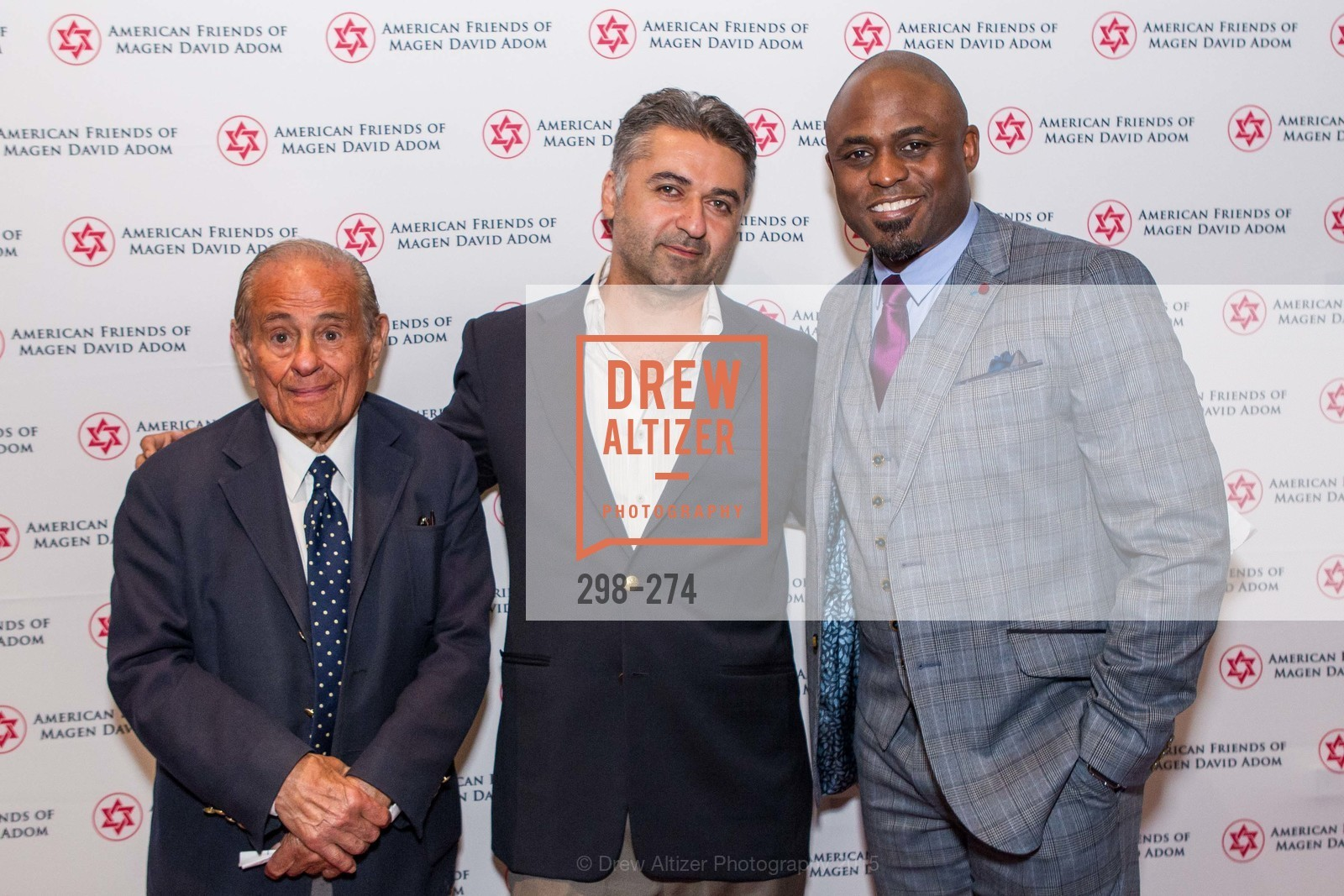 Maurice Kanbar, Hooman Khalili, Wayne Brady, American Friends of Magen David Adom Inaugural Red Star Gala, Hilton Union Square. 333 O'Farrell St, August 30th, 2015,Drew Altizer, Drew Altizer Photography, full-service agency, private events, San Francisco photographer, photographer california