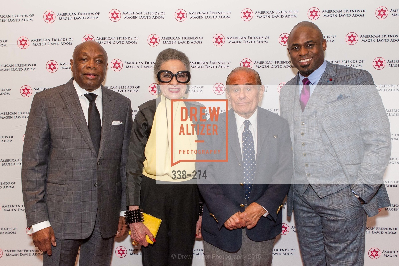 Willie Brown, Joy Venturini Bianchi, Maurice Kanbar, Wayne Brady, American Friends of Magen David Adom Inaugural Red Star Gala, Hilton Union Square. 333 O'Farrell St, August 30th, 2015,Drew Altizer, Drew Altizer Photography, full-service agency, private events, San Francisco photographer, photographer california